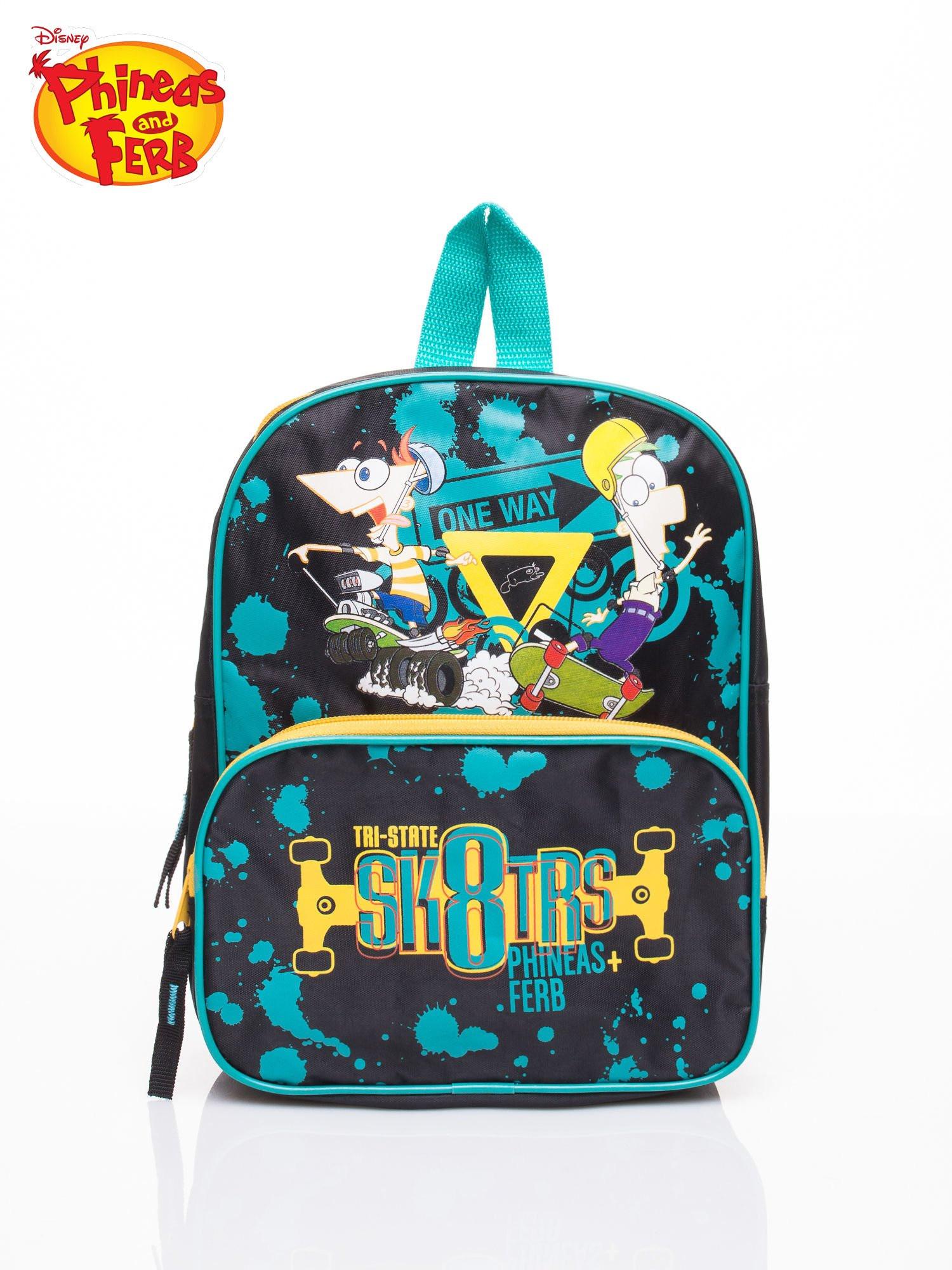 Tyrkysový školský batoh s motívom Phineas a Ferb one size