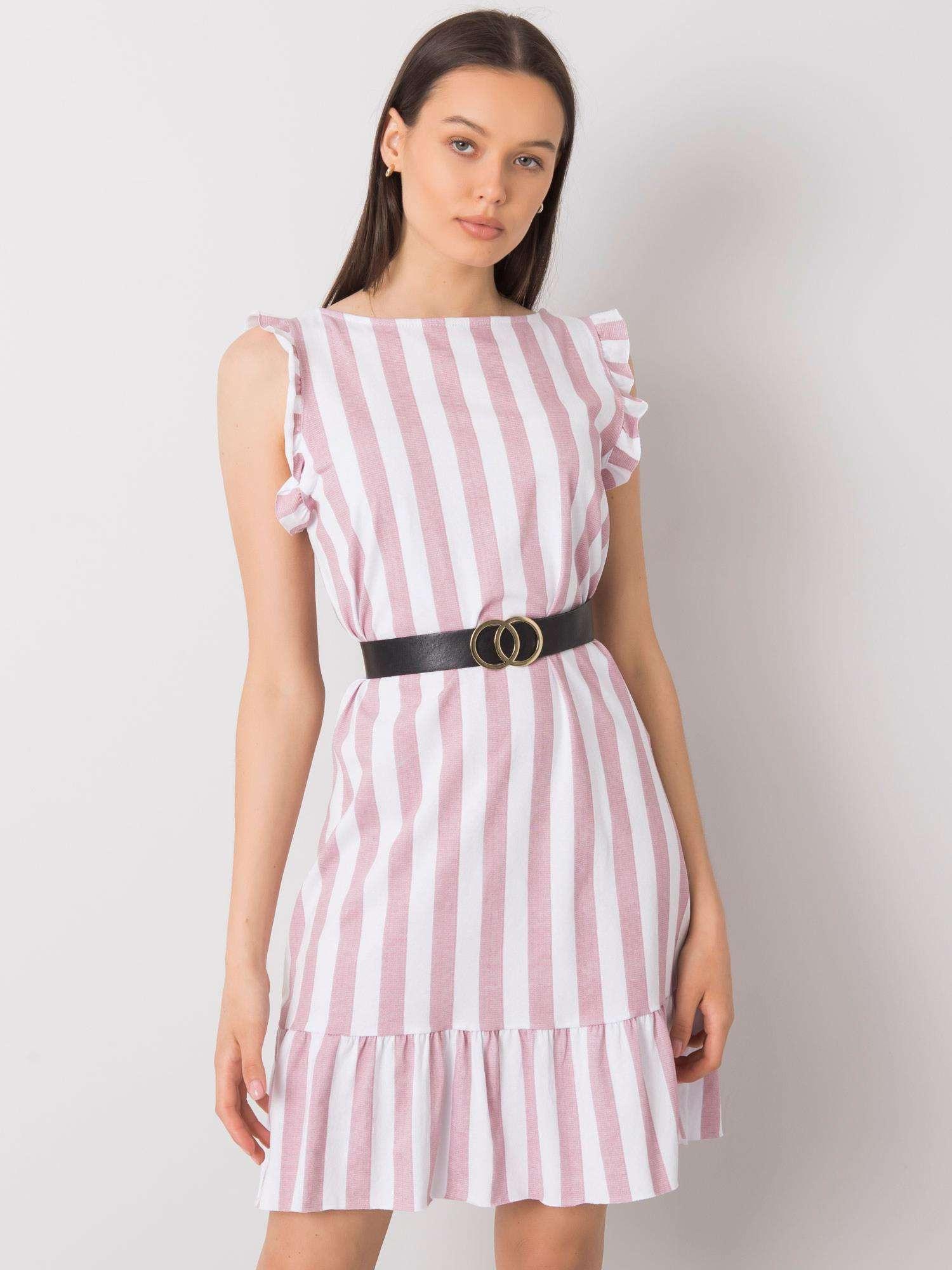 Púdrovo ružové pruhované šaty s volánom jedna velikost