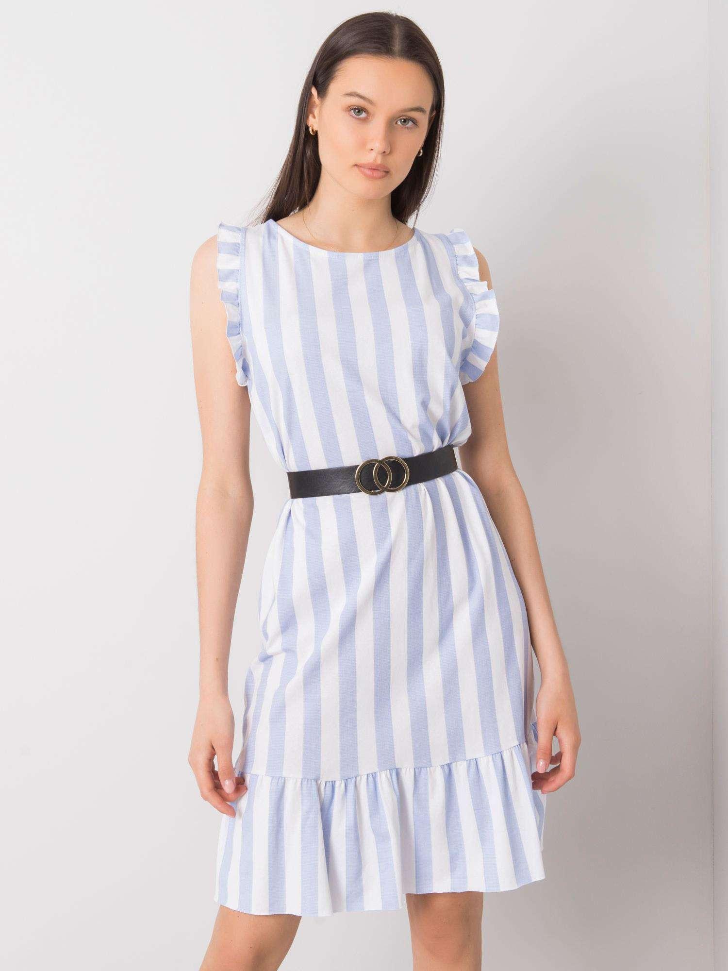 Svetlo modré pruhované šaty s volánikmi jedna velikost