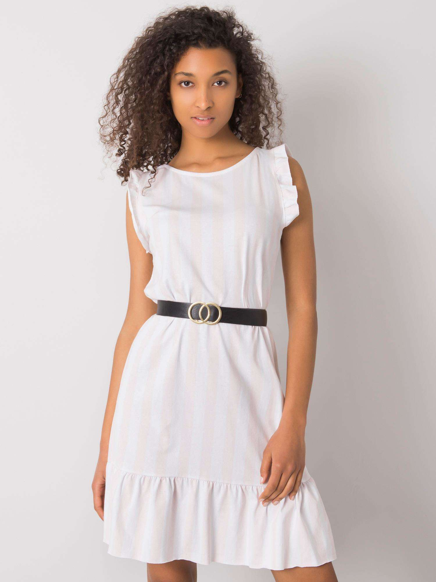 Svetloružové pruhované šaty s volánikmi jedna velikost