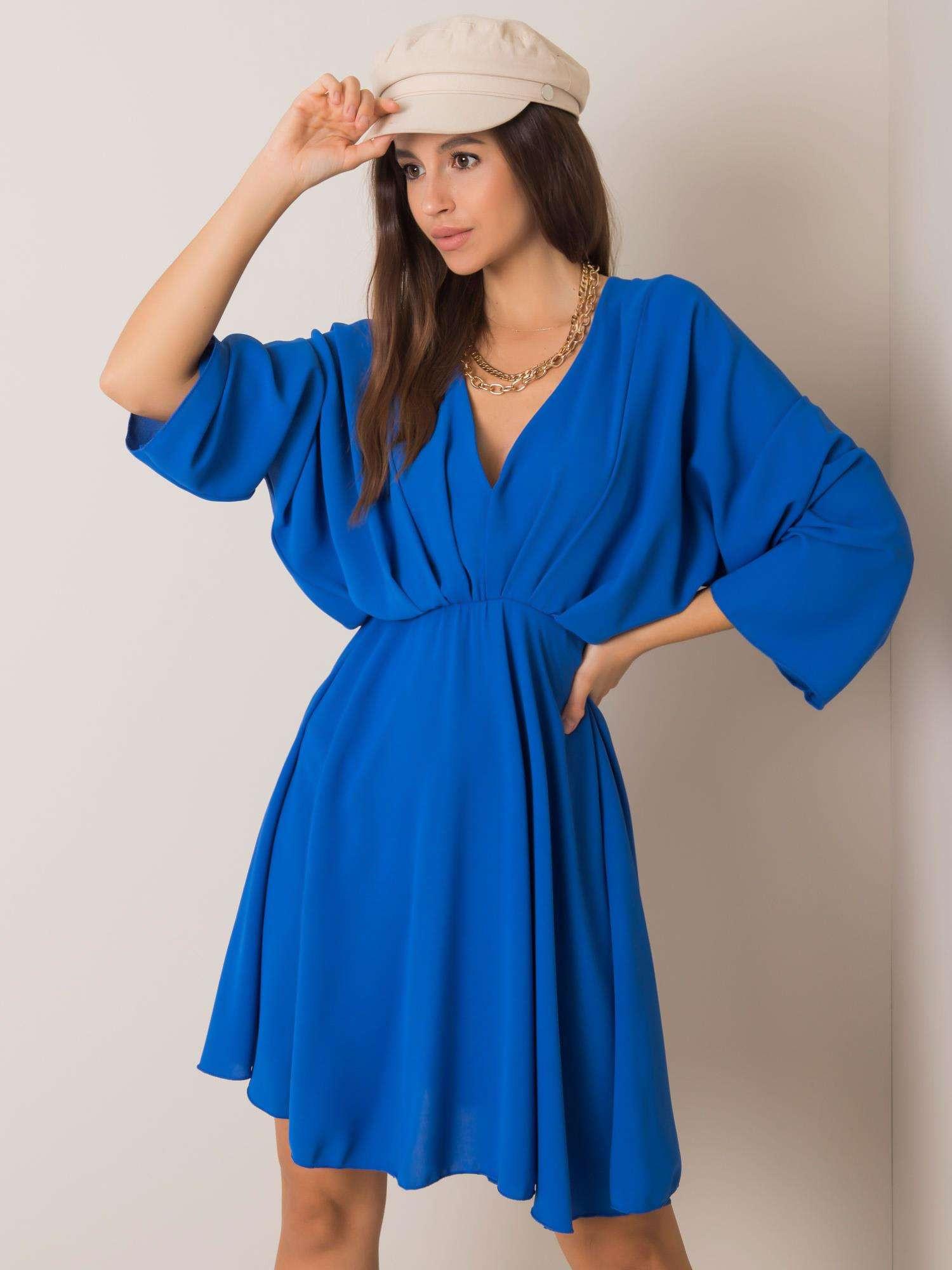 Modré šaty s výstrihom do trojuholníka one size
