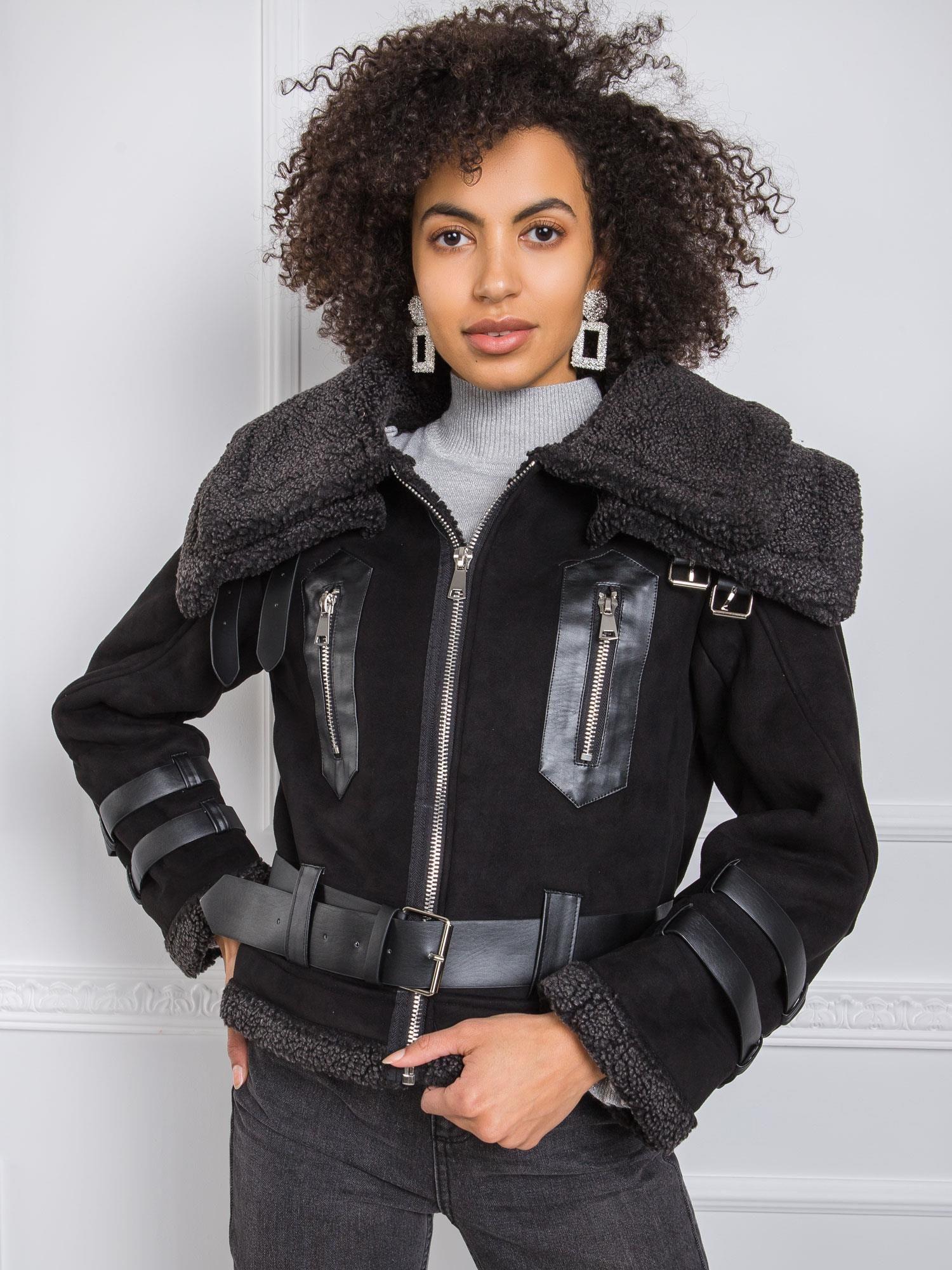 Černá bunda z ovčí kůže XL