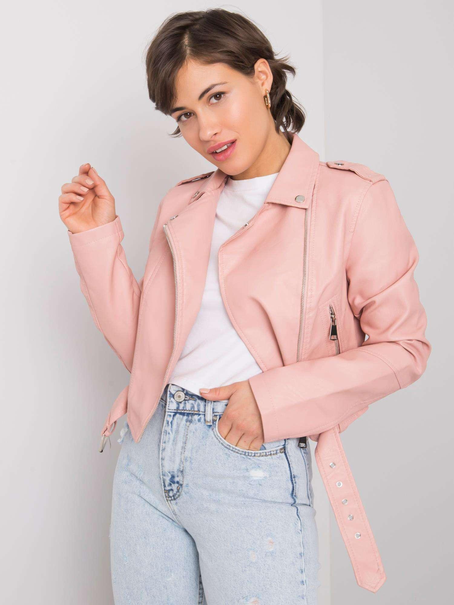Svetlo ružová dámska motorkárska bunda L