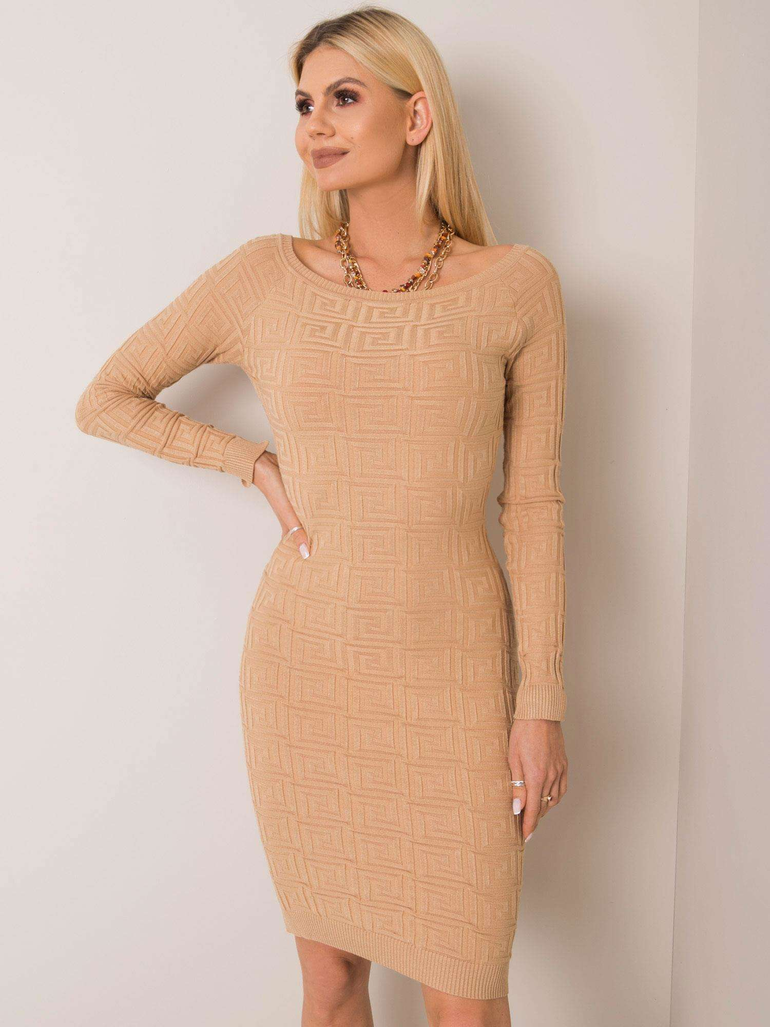 Béžové pletené pletené šaty M/L