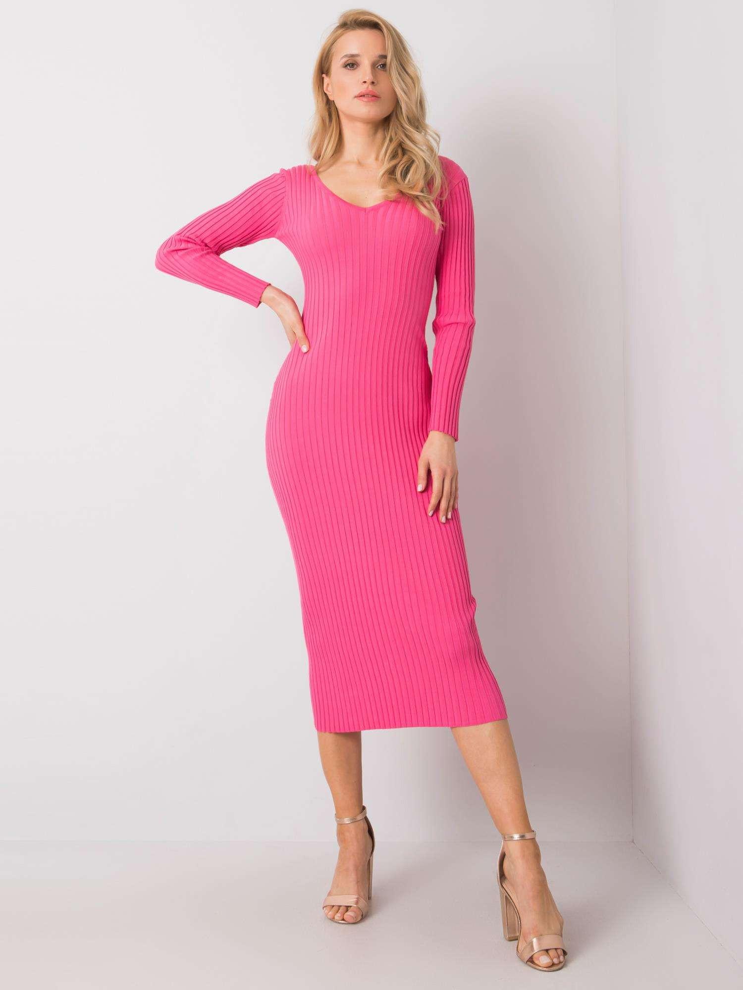 Ružové slim fit šaty s pruhom one size