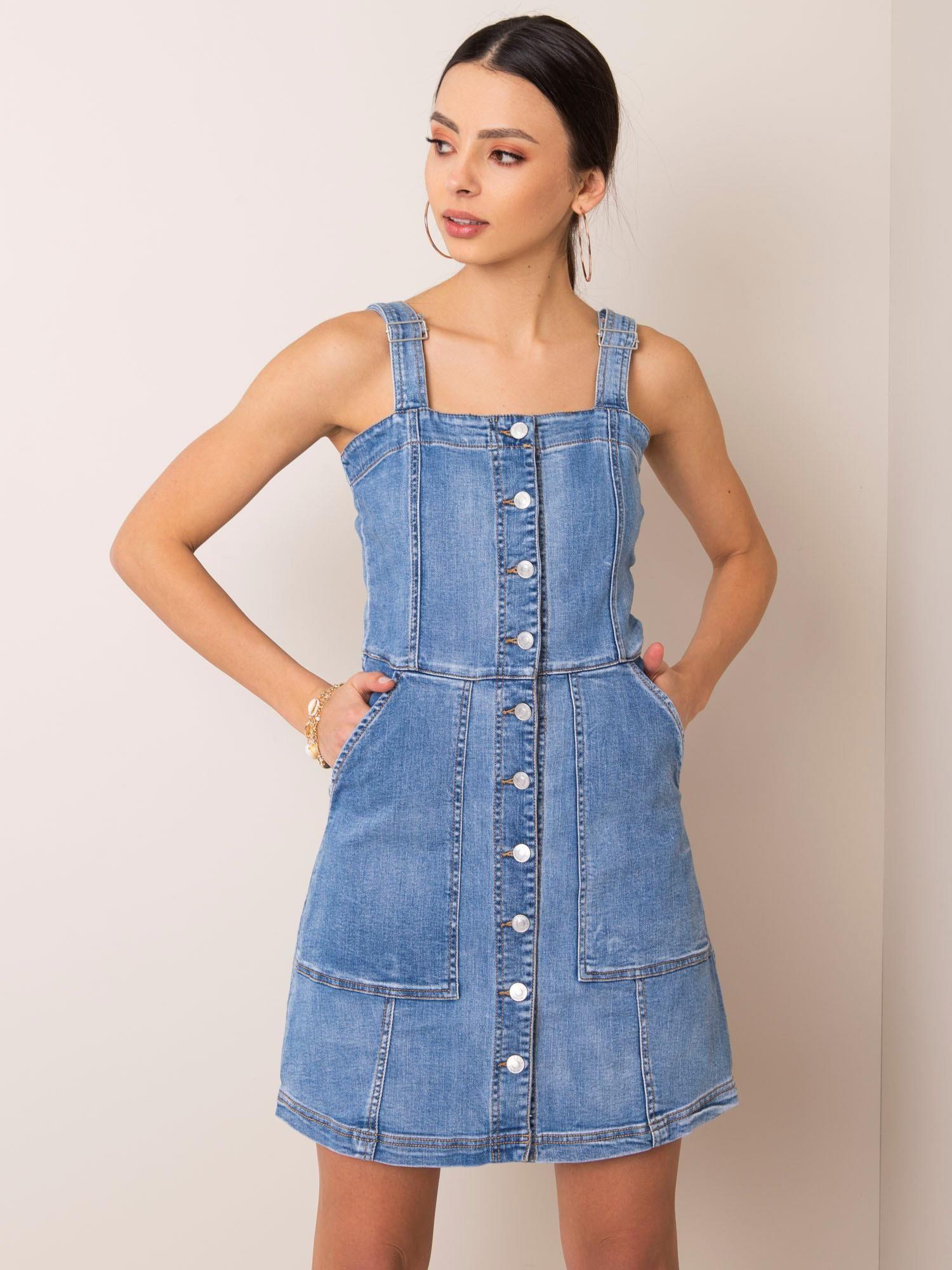 Modré riflové šaty L