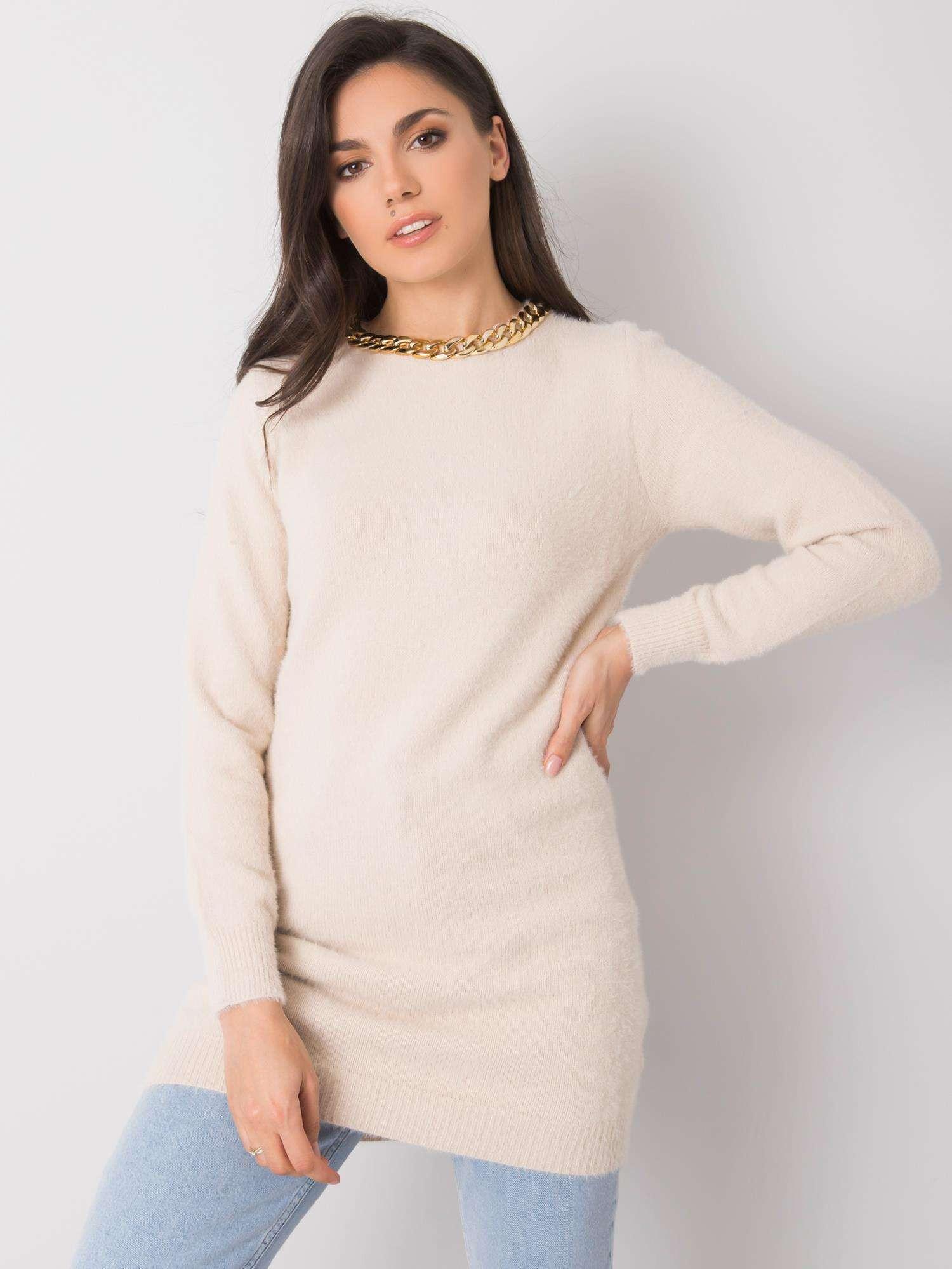 Béžový dlouhý dámský svetr jedna velikost