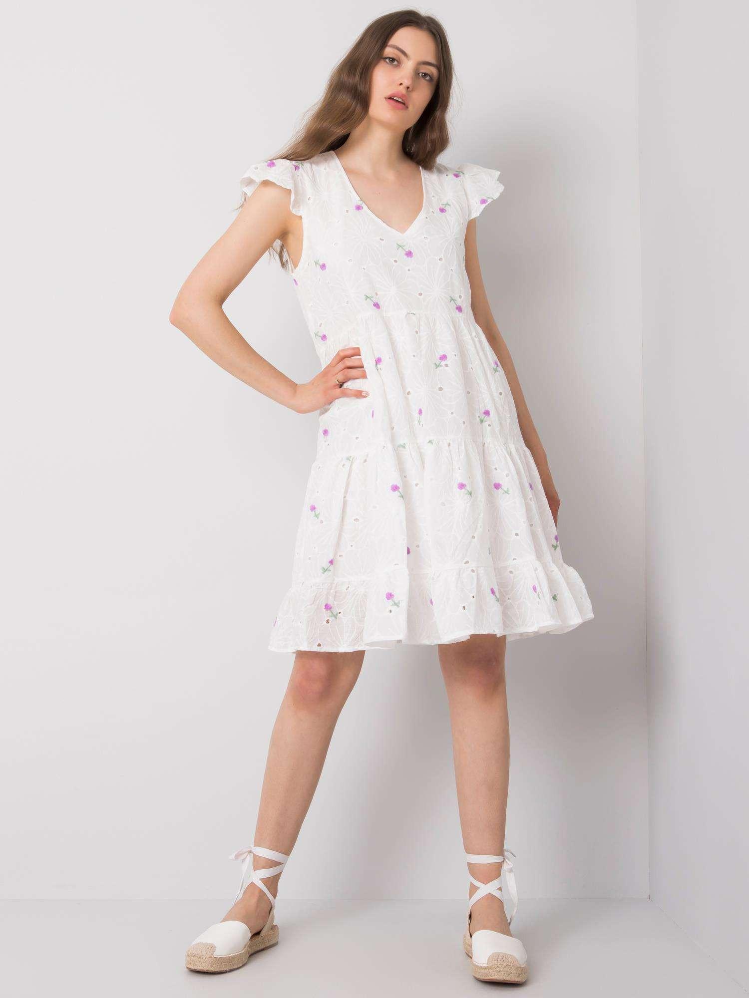 Biele a fialové šaty s výšivkou ONE SIZE