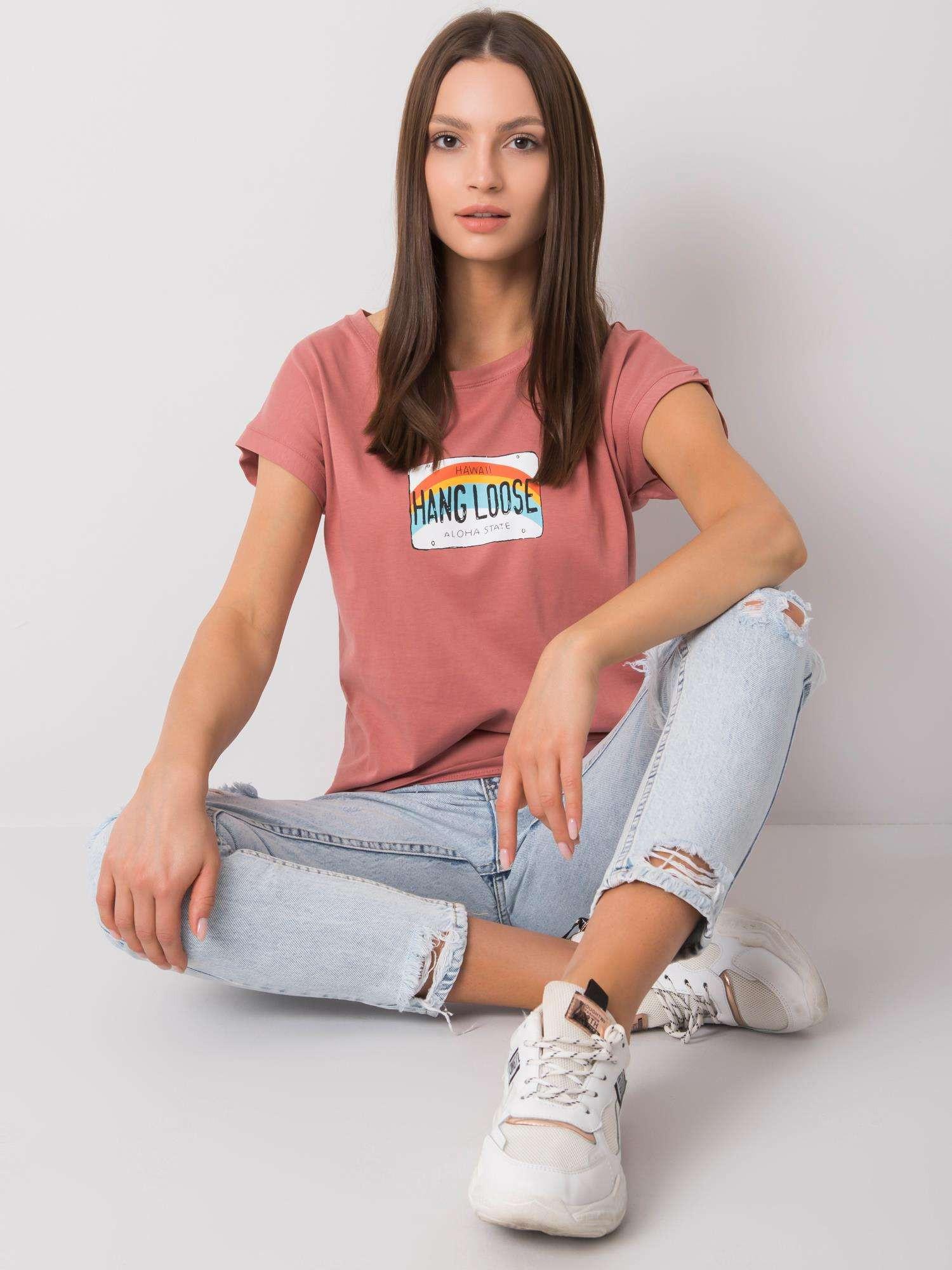 Špinavé ružové bavlnené dámske tričko one size