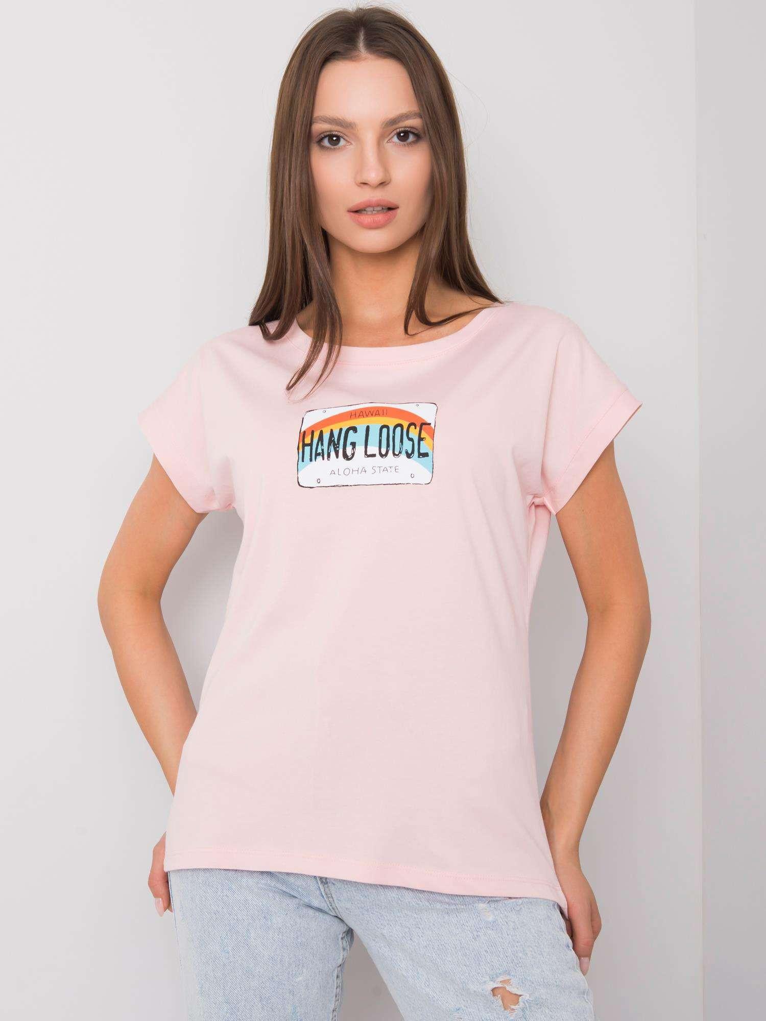Svetlo ružové bavlnené dámske tričko one size