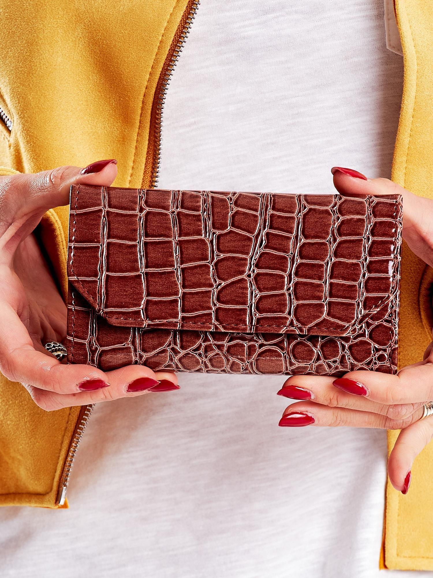 Dámska peňaženka z ekokože, reliéfne hnedá ONE SIZE