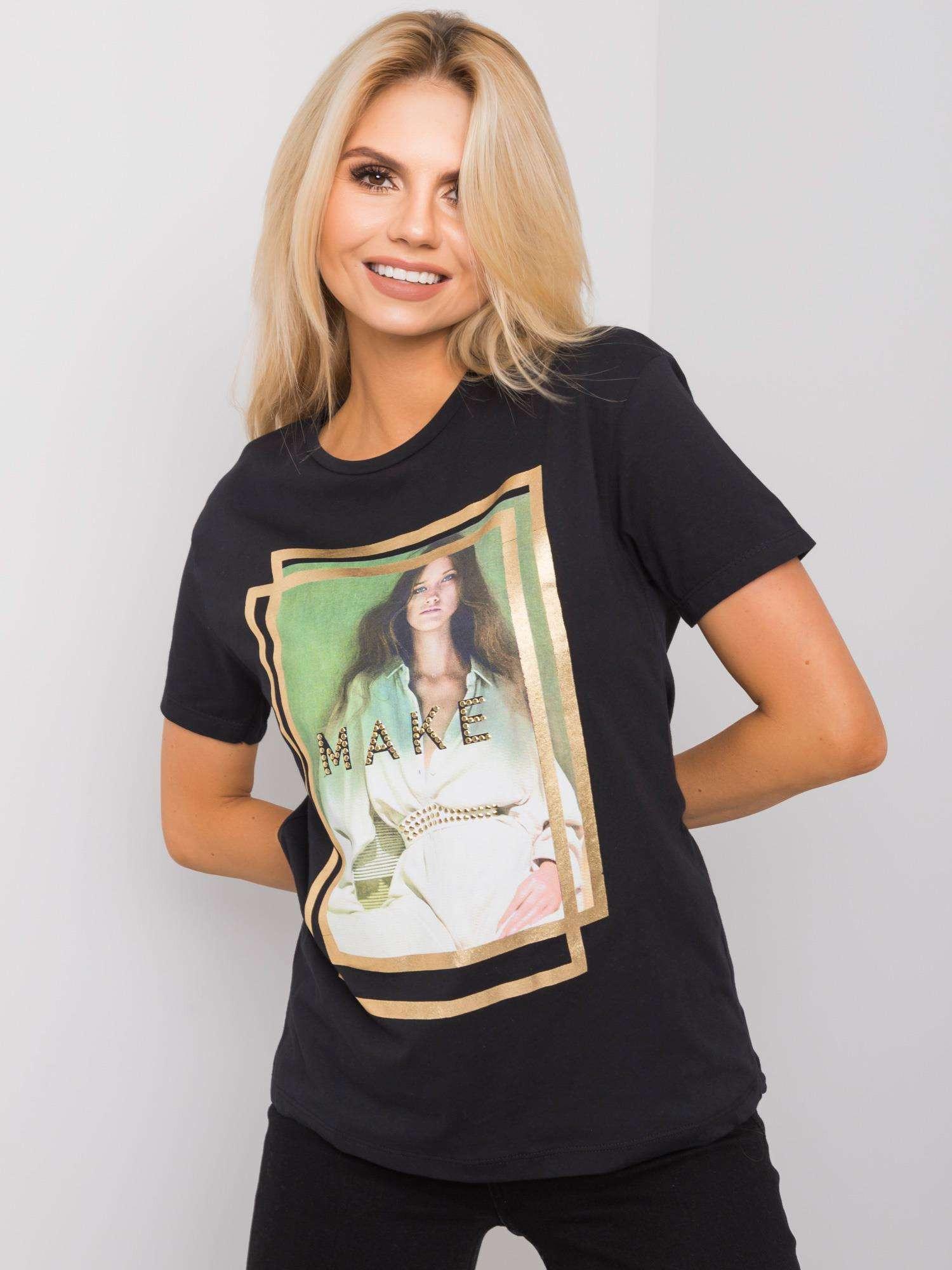Čierne dámske tričko s potlačou S