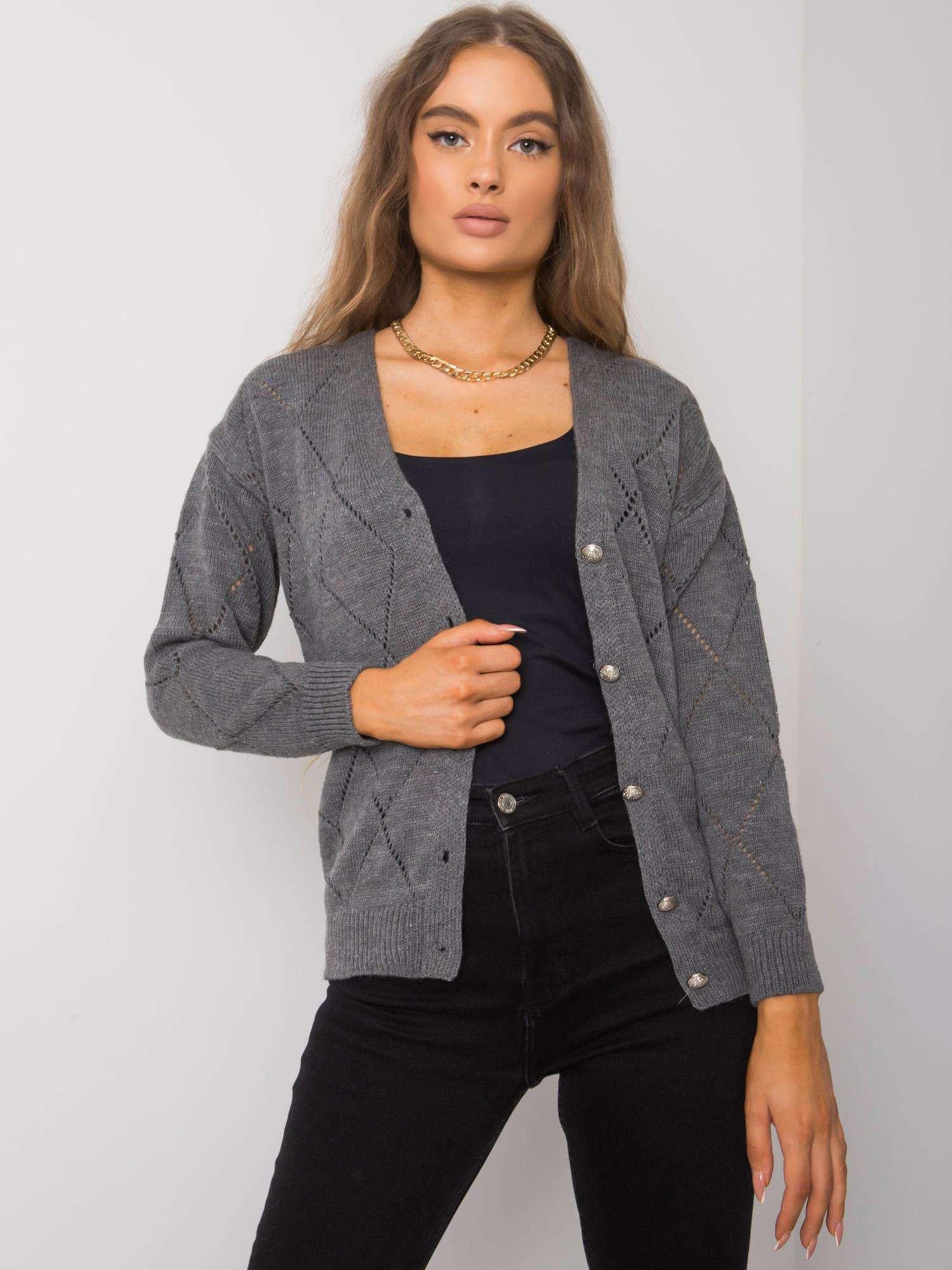 RUE PARIS Dámsky tmavo šedý sveter na gombíky jedna velikost