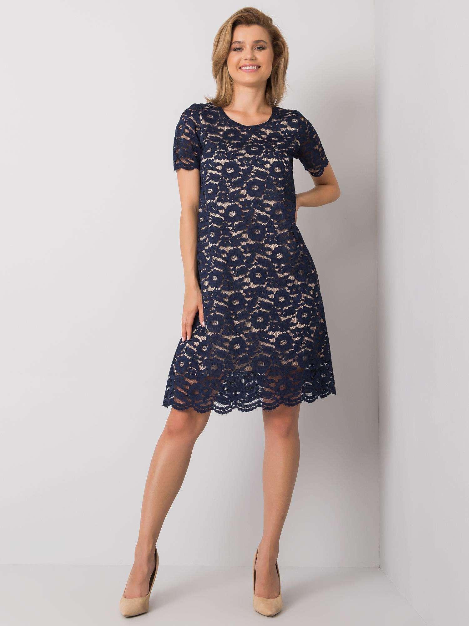 Elegantný tmavo modré krajkové šaty 36