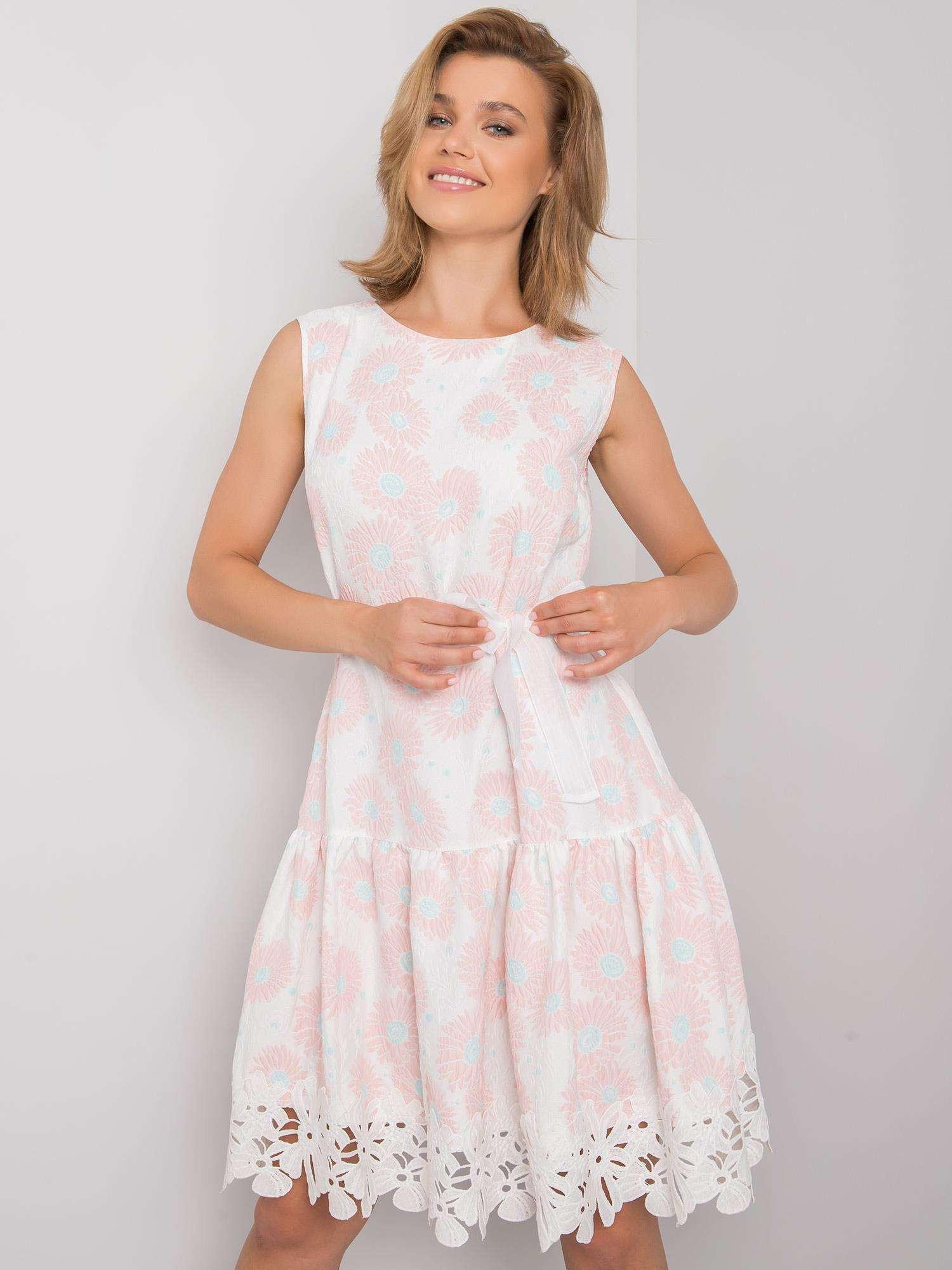 Biele a ružové kvetinové šaty 42