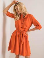 Oranžové šaty s gombíkmi 42