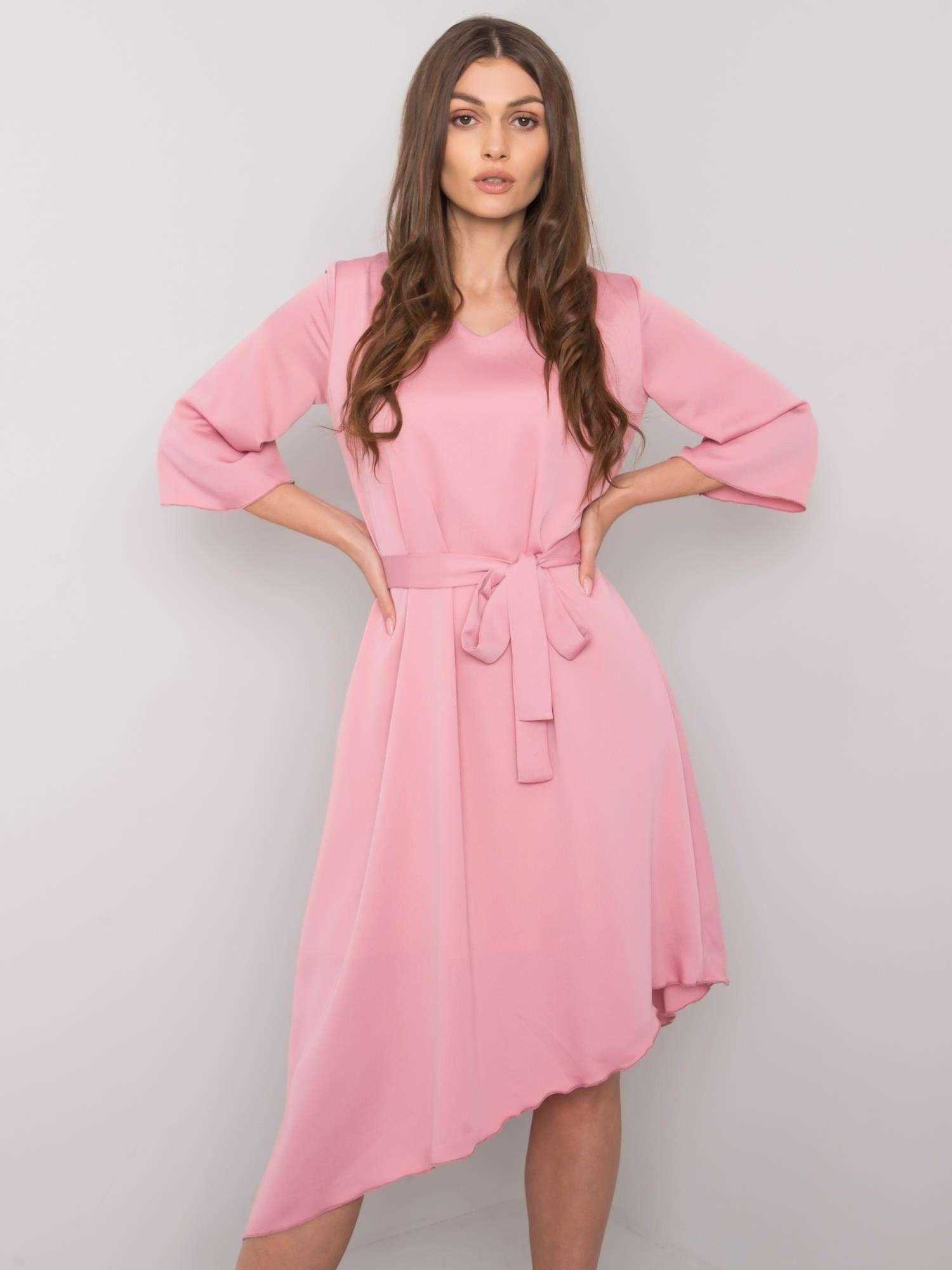Púdrovo ružové asymetrické šaty s opaskom 42