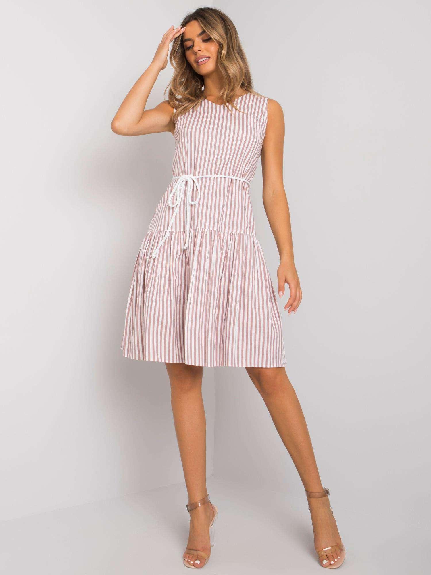 Bielo-ružové šaty s volánom 42