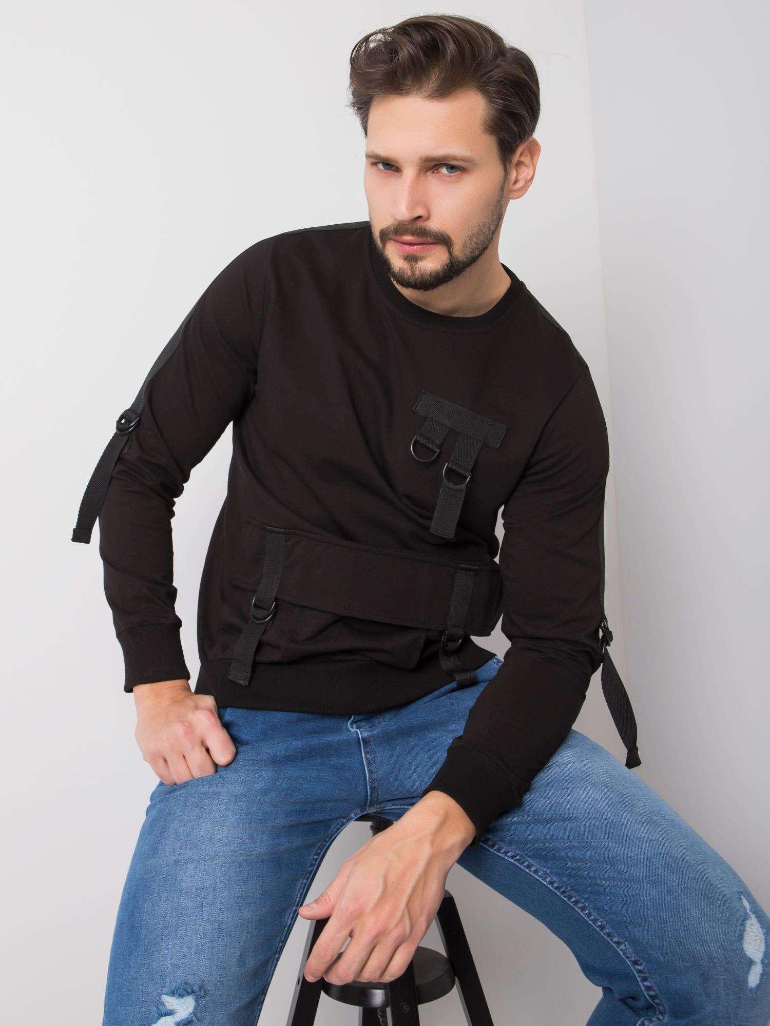 Pánska čierna bavlnená mikina M