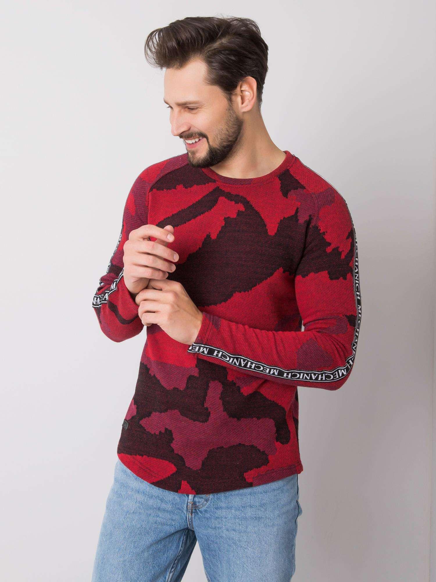 Červená vzorovaná mikina pre mužov XL