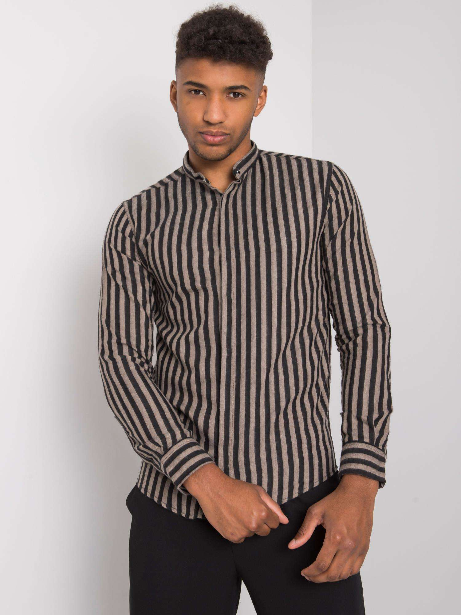 Pánske béžovej a čiernej pruhované tričko L