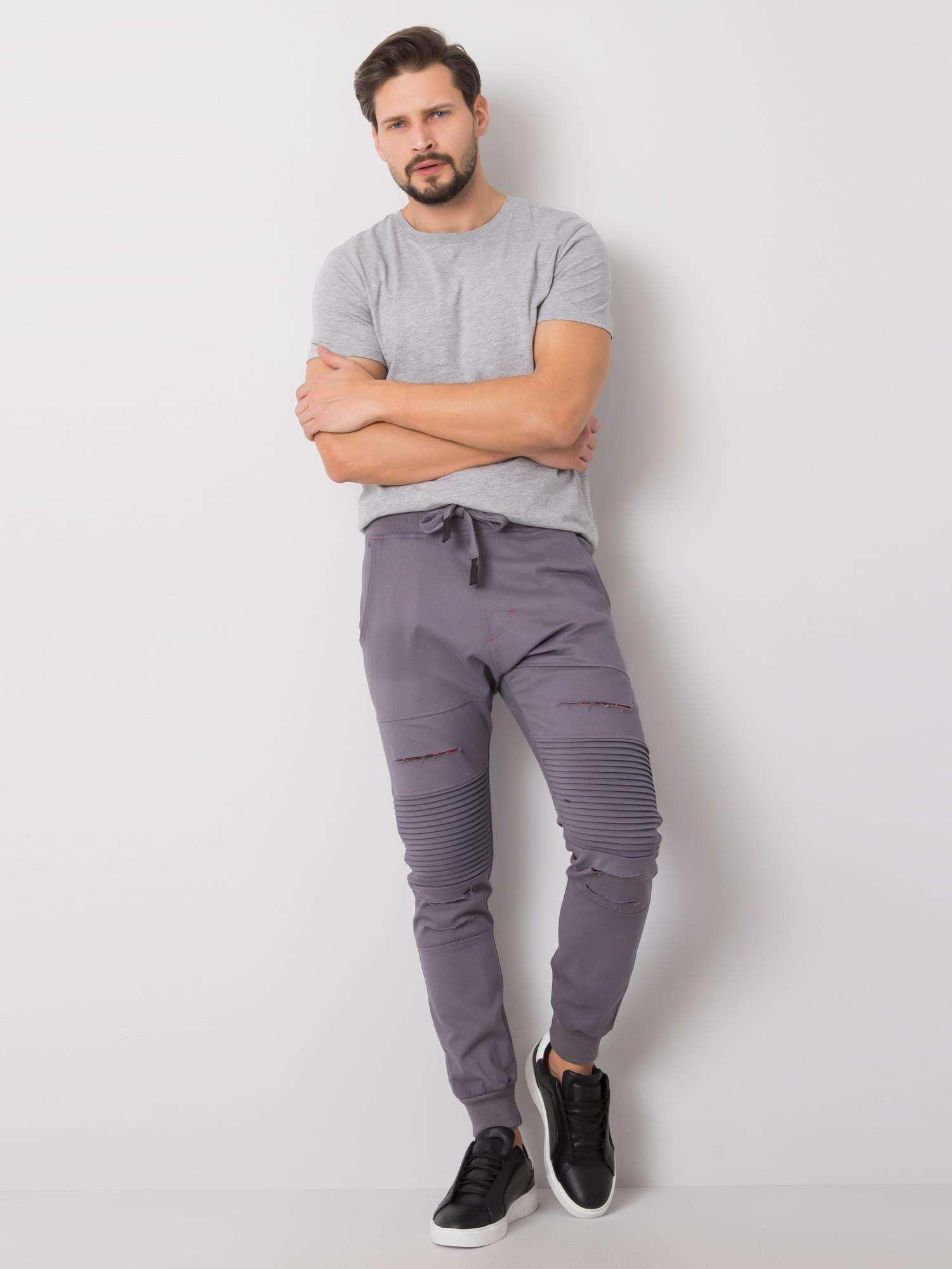 Pánske šedé nohavice s otvormi 2XL