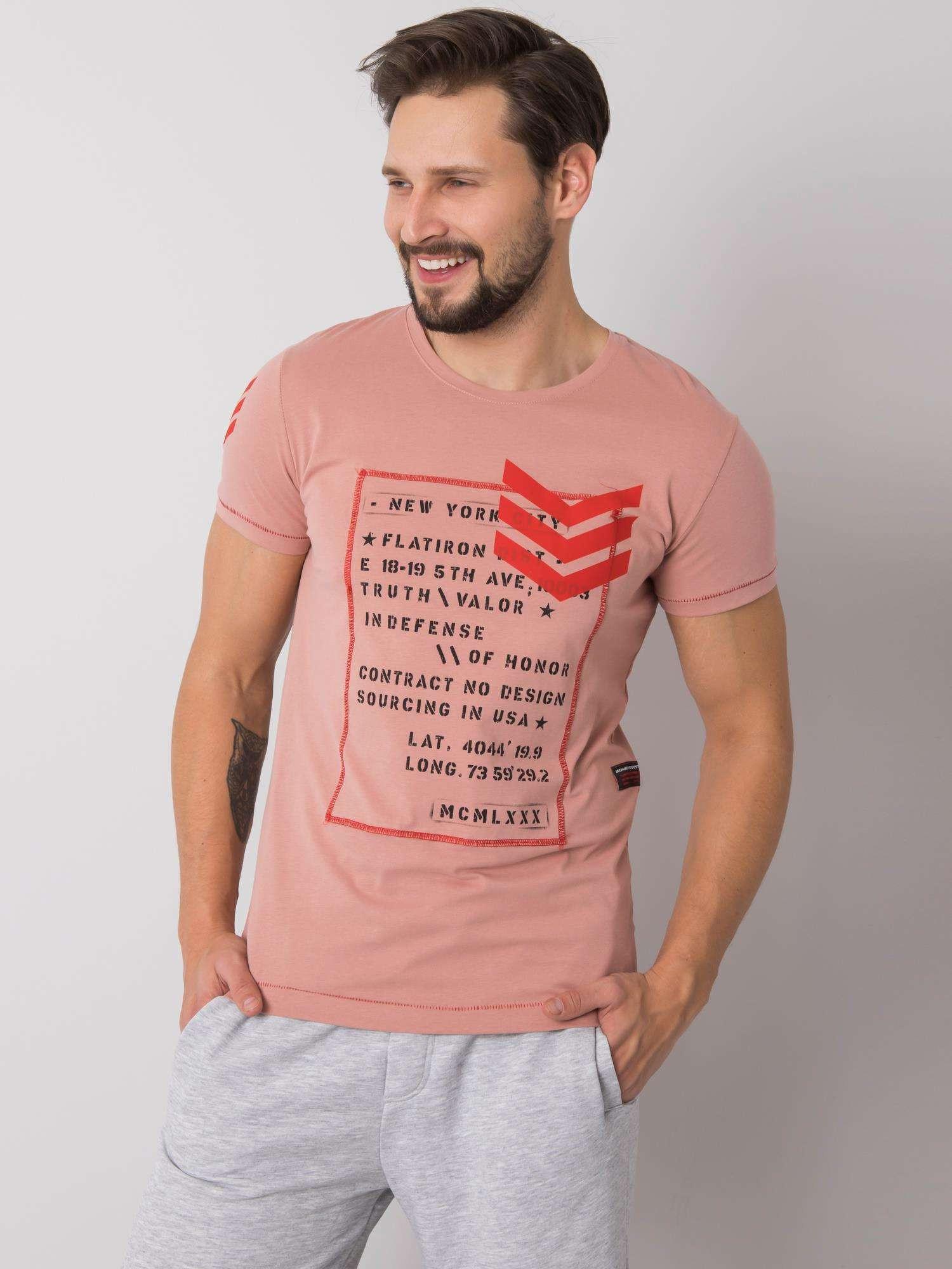 Zaprášené ružové pánske tričko s potlačou S