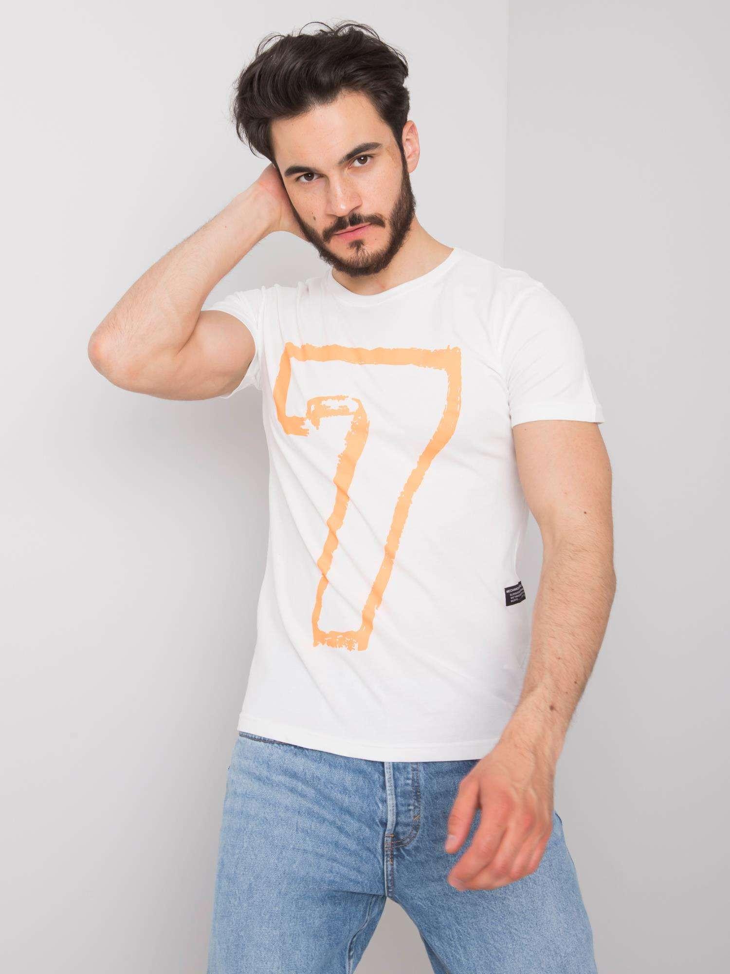 Pánské bílé bavlněné tričko s potiskem S