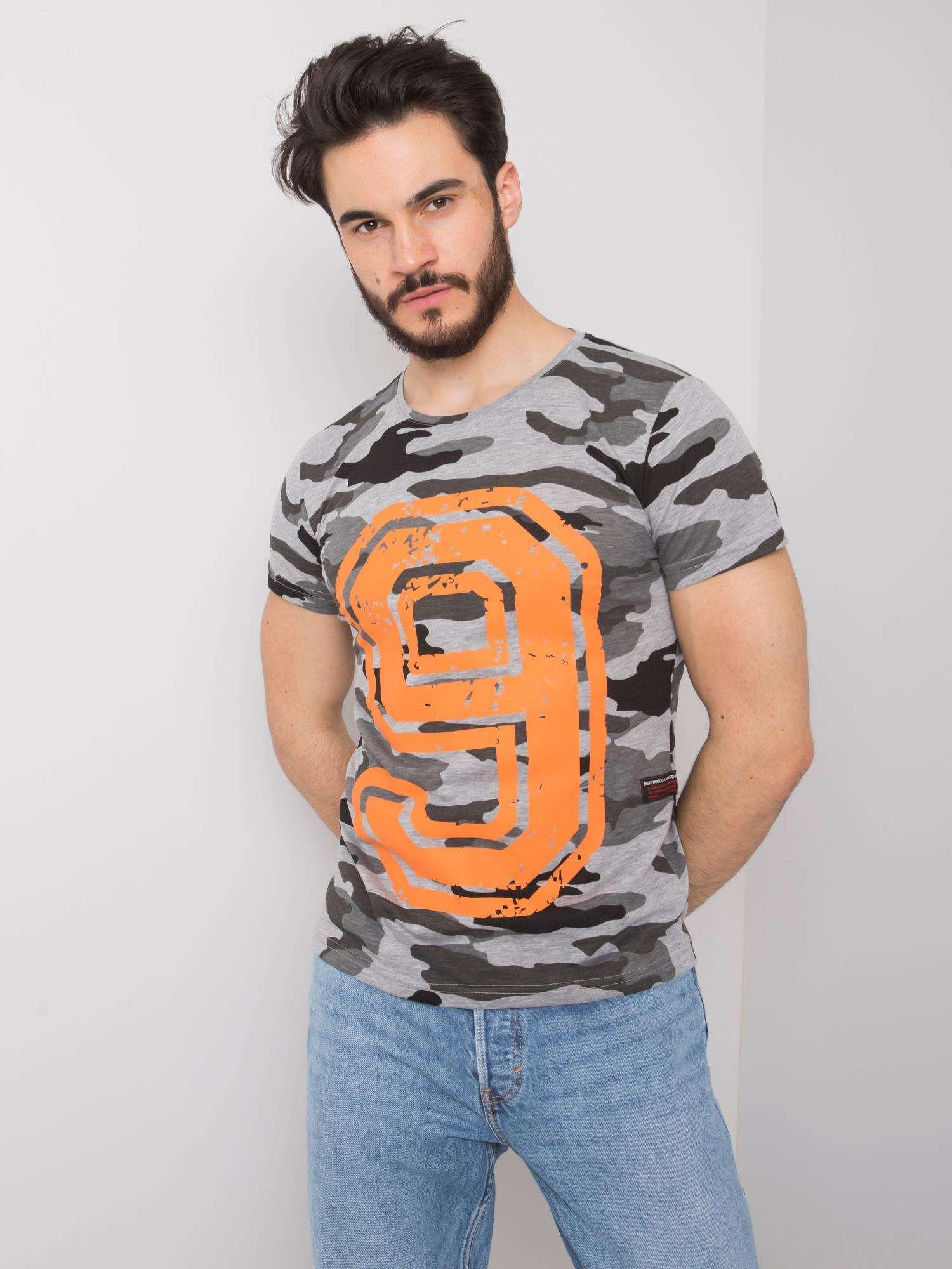 Šedé pánske tričko s potlačou L