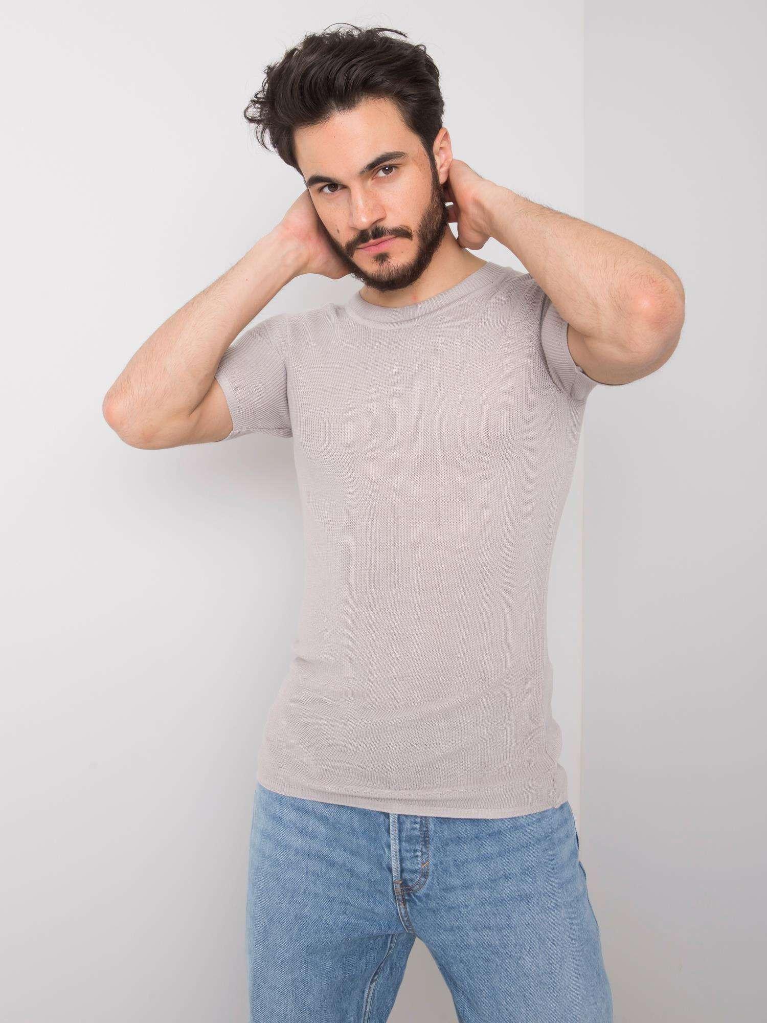 Pánske šedé pletené tričko S