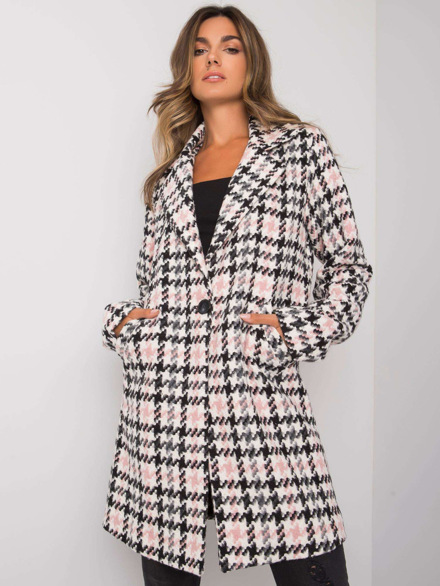 RUE PARIS Biely a ružový vzorovaný kabát S