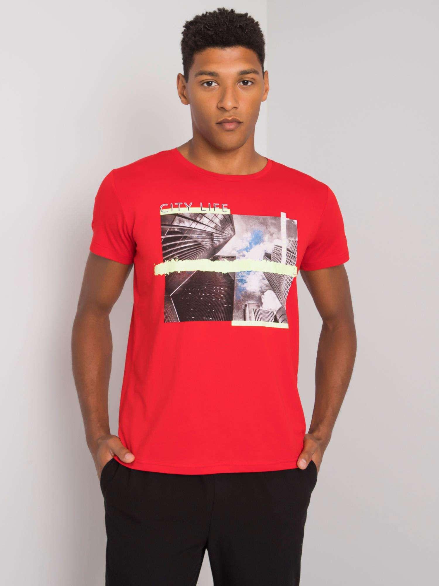 Pánské červené bavlněné tričko L