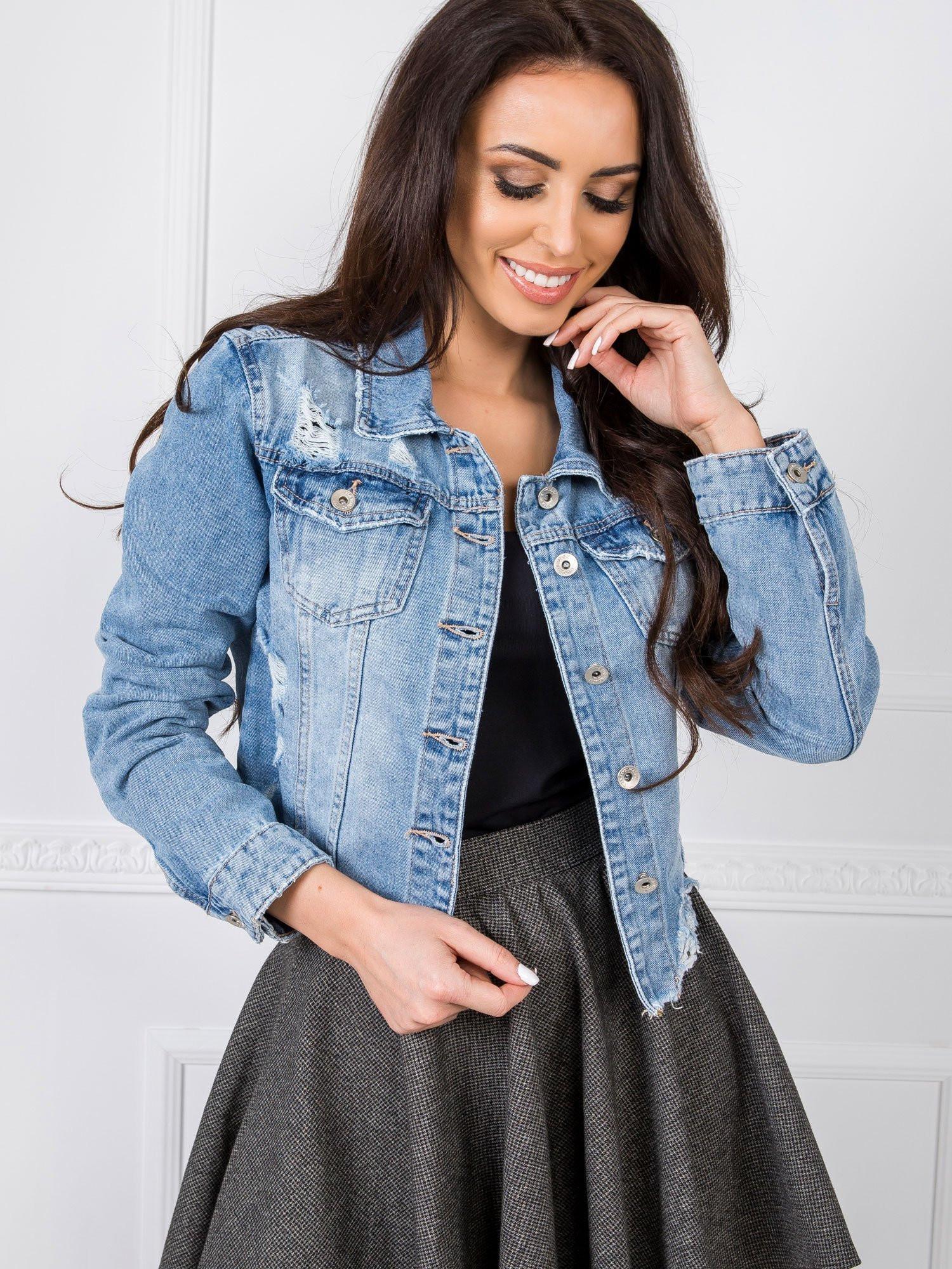 Modrá krátká džínová bunda XL