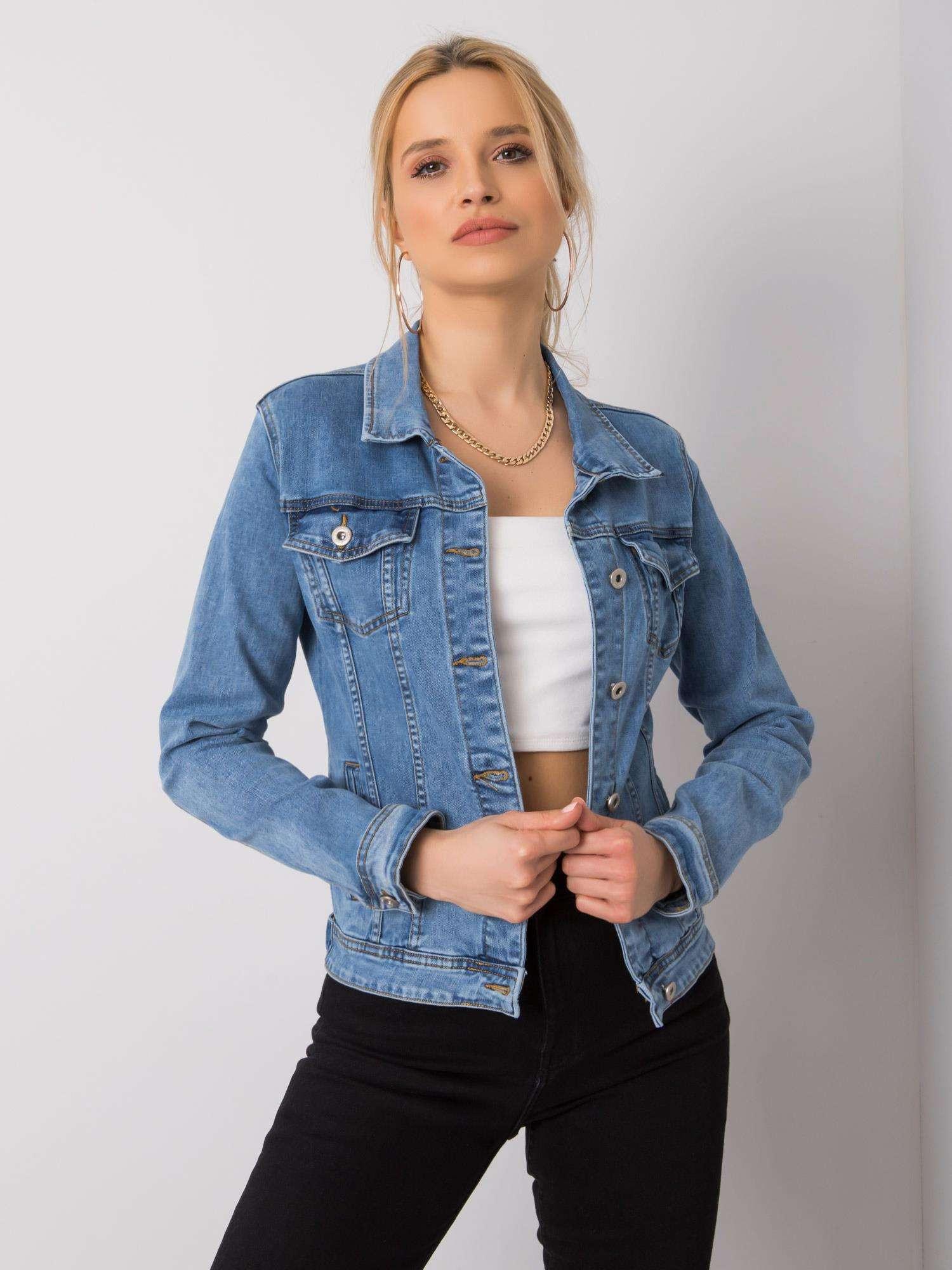 Dámska modrá džínsová bunda L