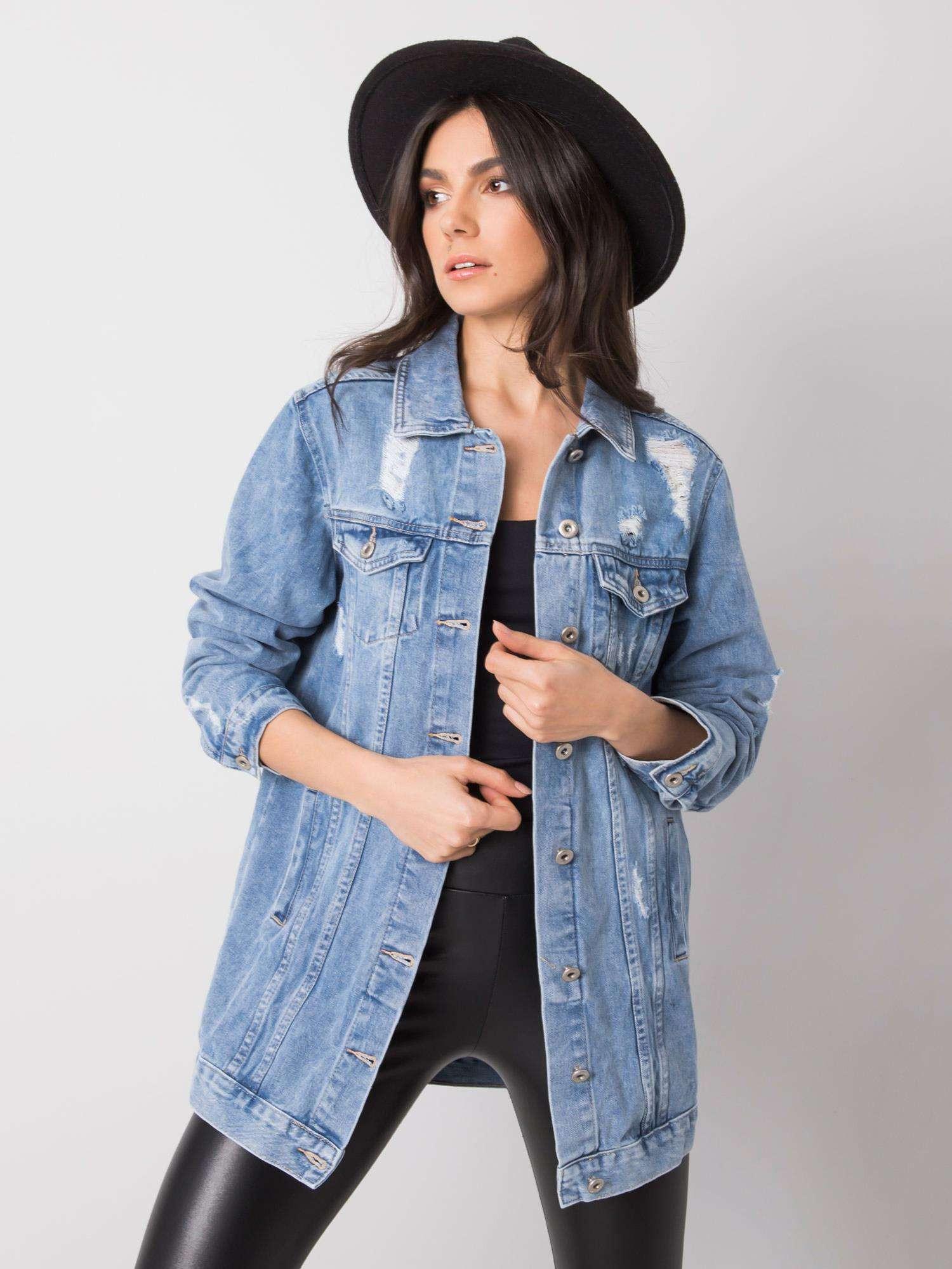 Dámska modrá zúfalý džínsová bunda M / L