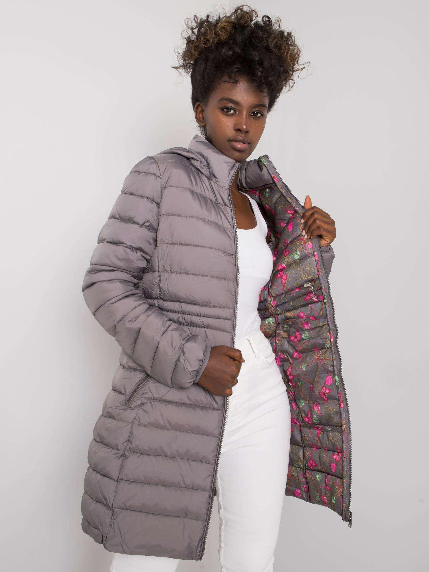 Tmavosivá dámska bunda s kapucňou S