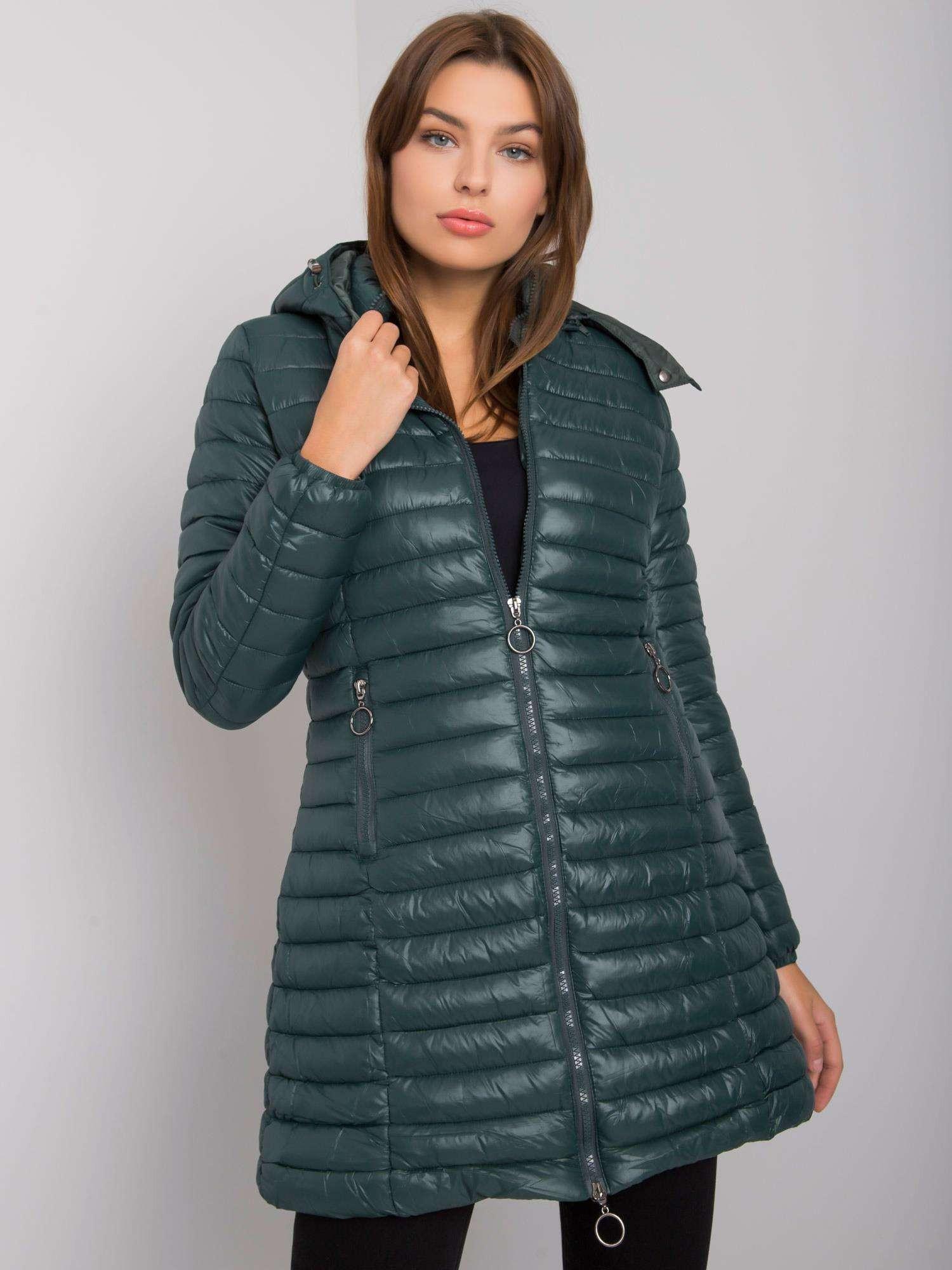 Tmavozelená dámska bunda s kapucňou S
