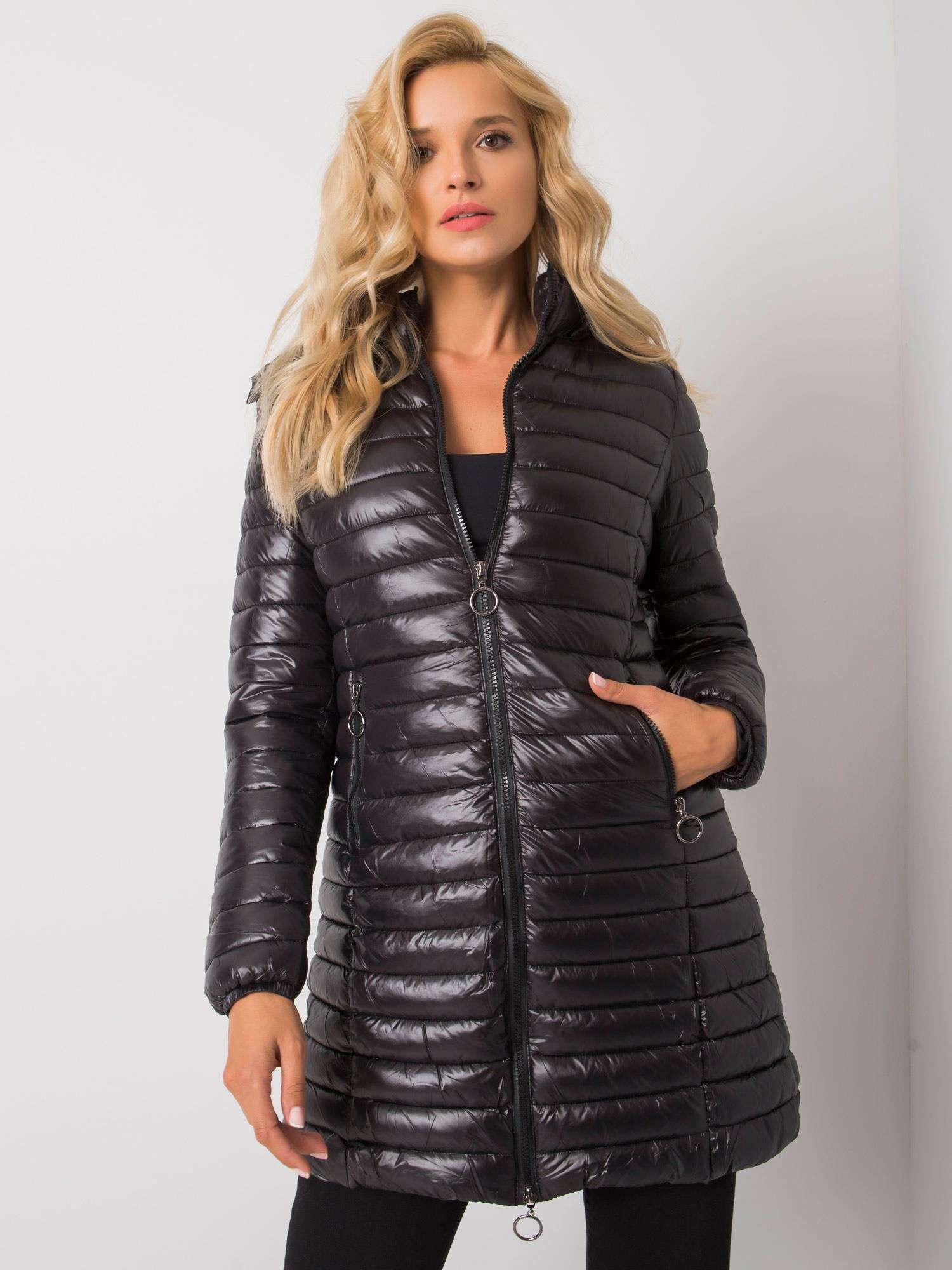 Čierna dámska bunda s kapucňou S