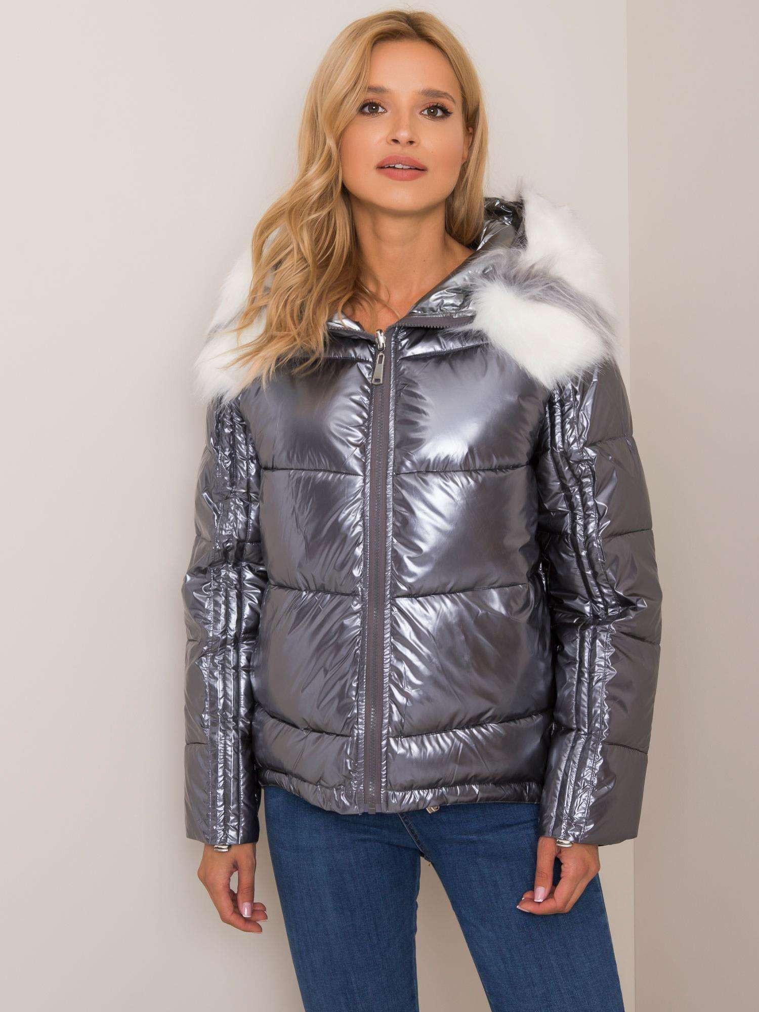 Oboustranná stříbrně béžová zimní bunda s kožešinou S