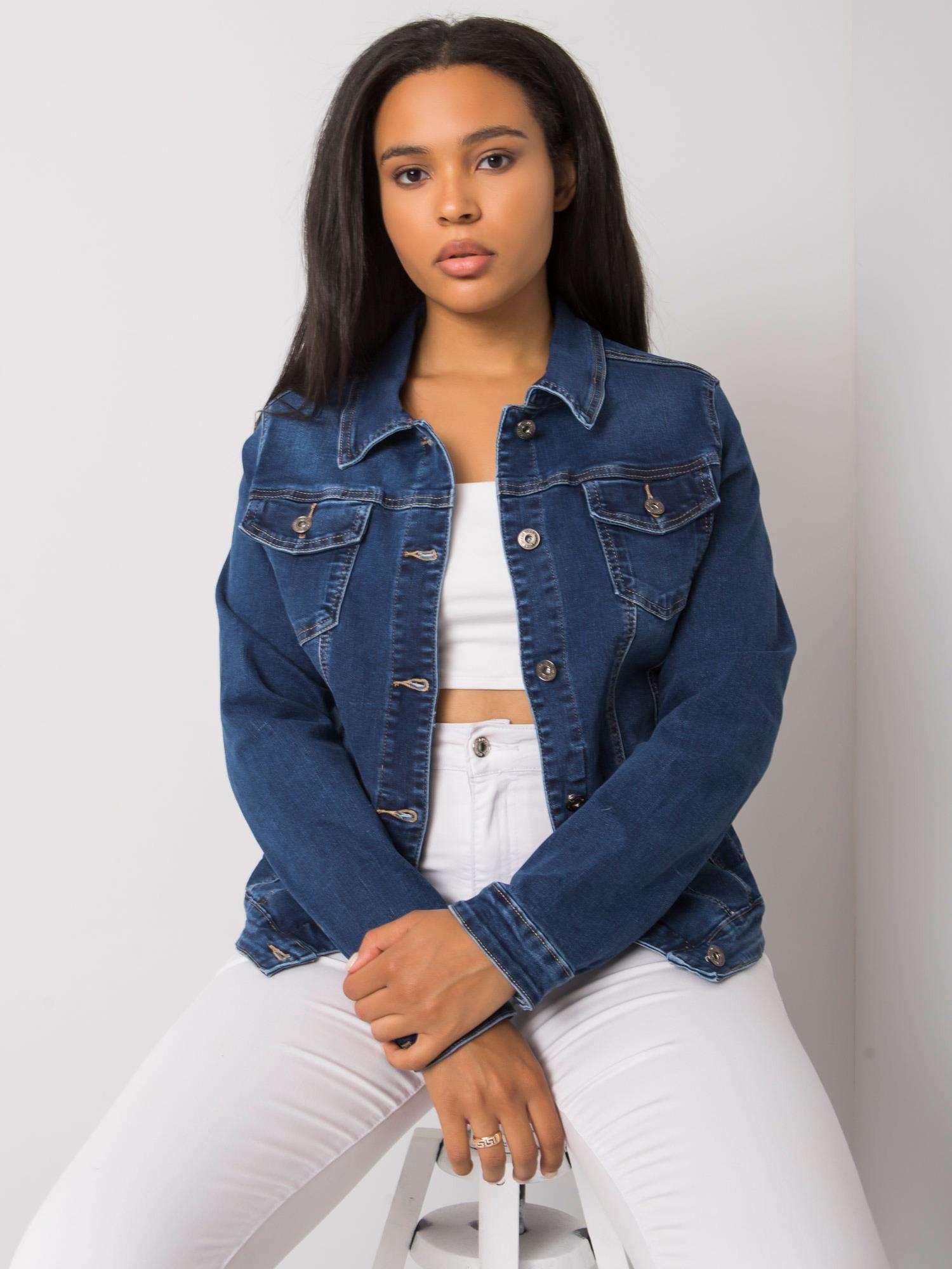 Modrá krátká džínová bunda plus size L