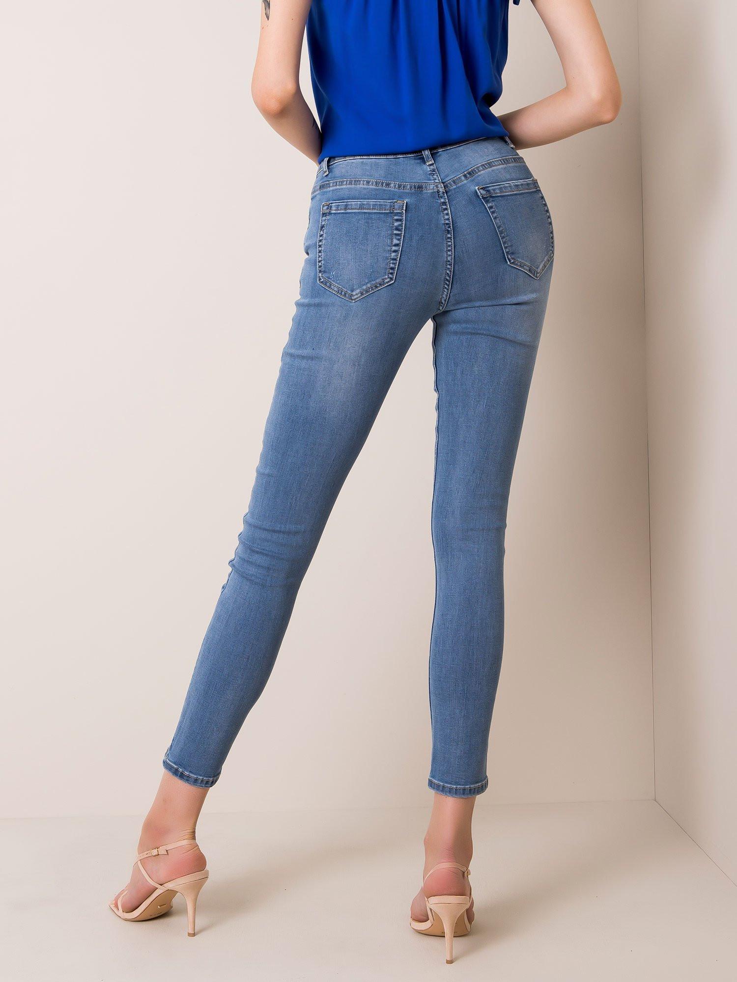 Modré dámske riflové nohavice XS