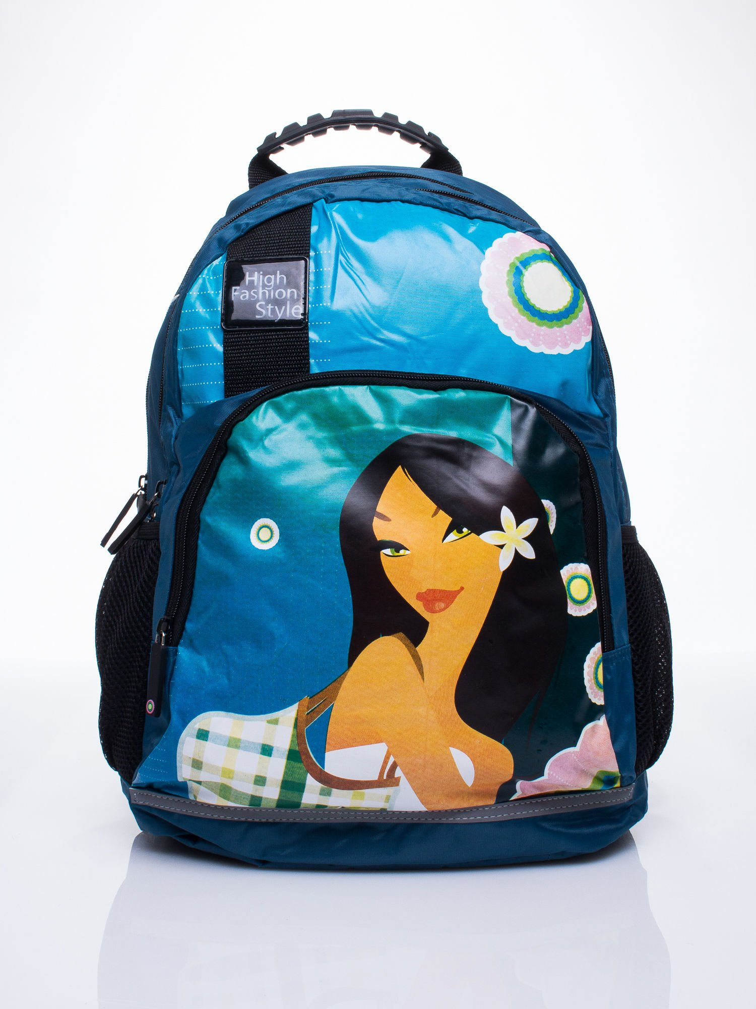 Modrý školský batoh s motívom Mulan one size