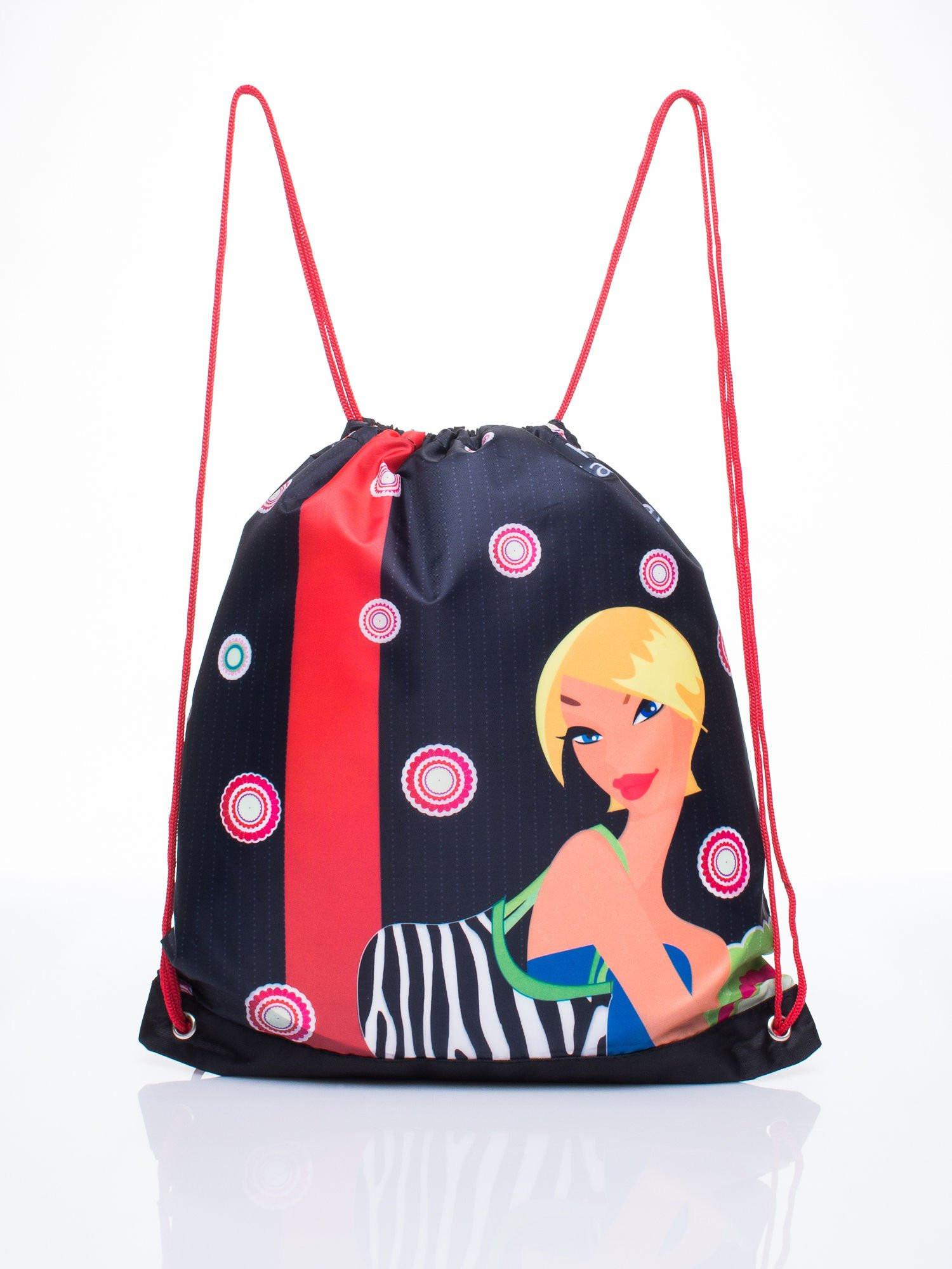 Červená taška s dievčenskou potlačou one size