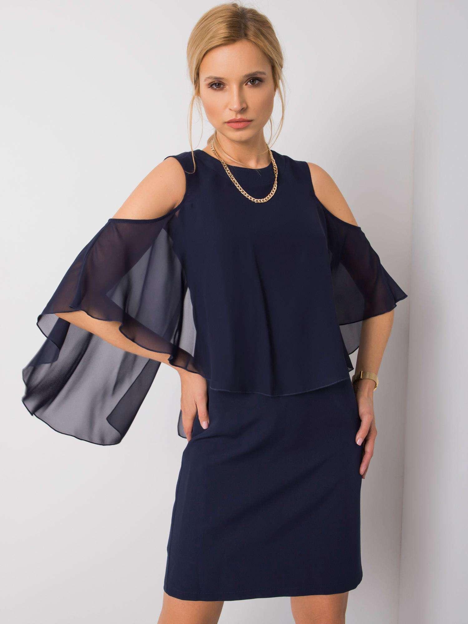 Tmavo modré spoločenské šaty 42