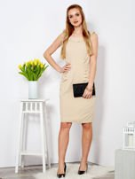 Béžové šaty s límcem 46