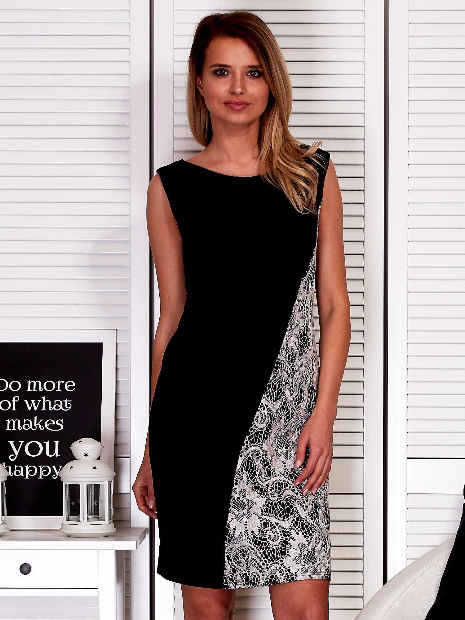 Čierne dámske šaty s čipkovanou vložkou PLUS VEĽKOSŤ 40