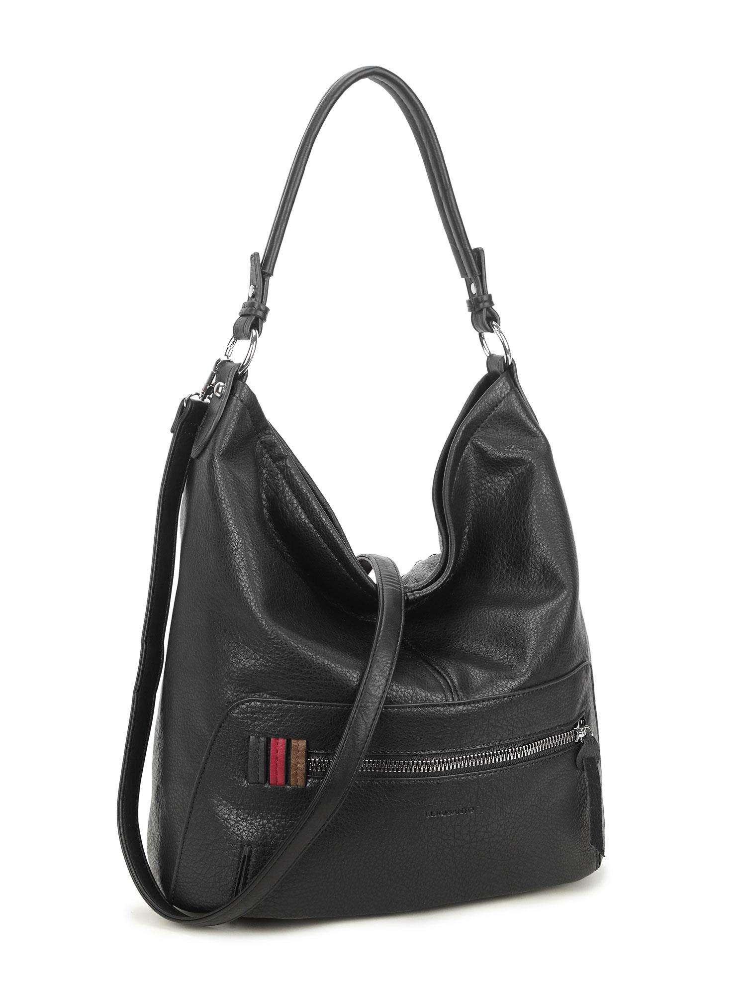 LUIGISANTO Čierna veľká taška vyrobená z ekologickej kože one size