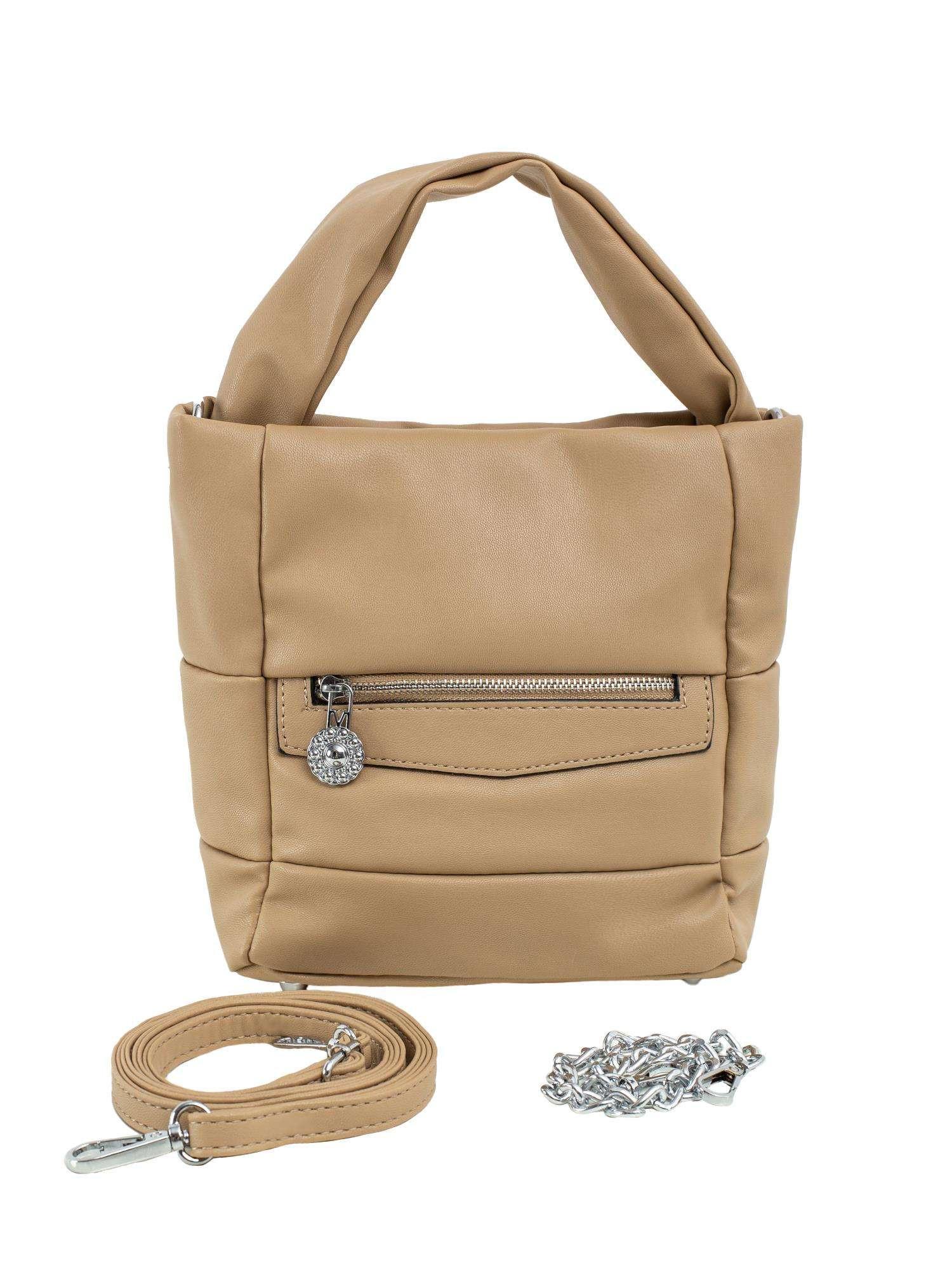 Béžová dámska kabelka vyrobená z ekologickej kože ONE SIZE