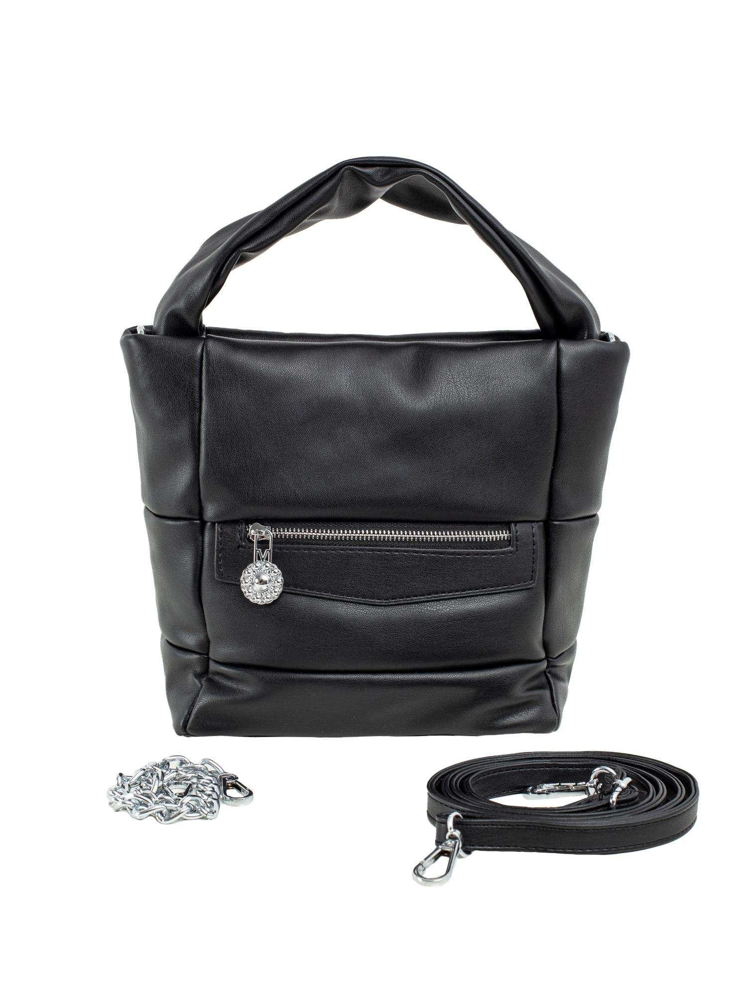Čierna dámska kabelka vyrobená z ekologickej kože ONE SIZE