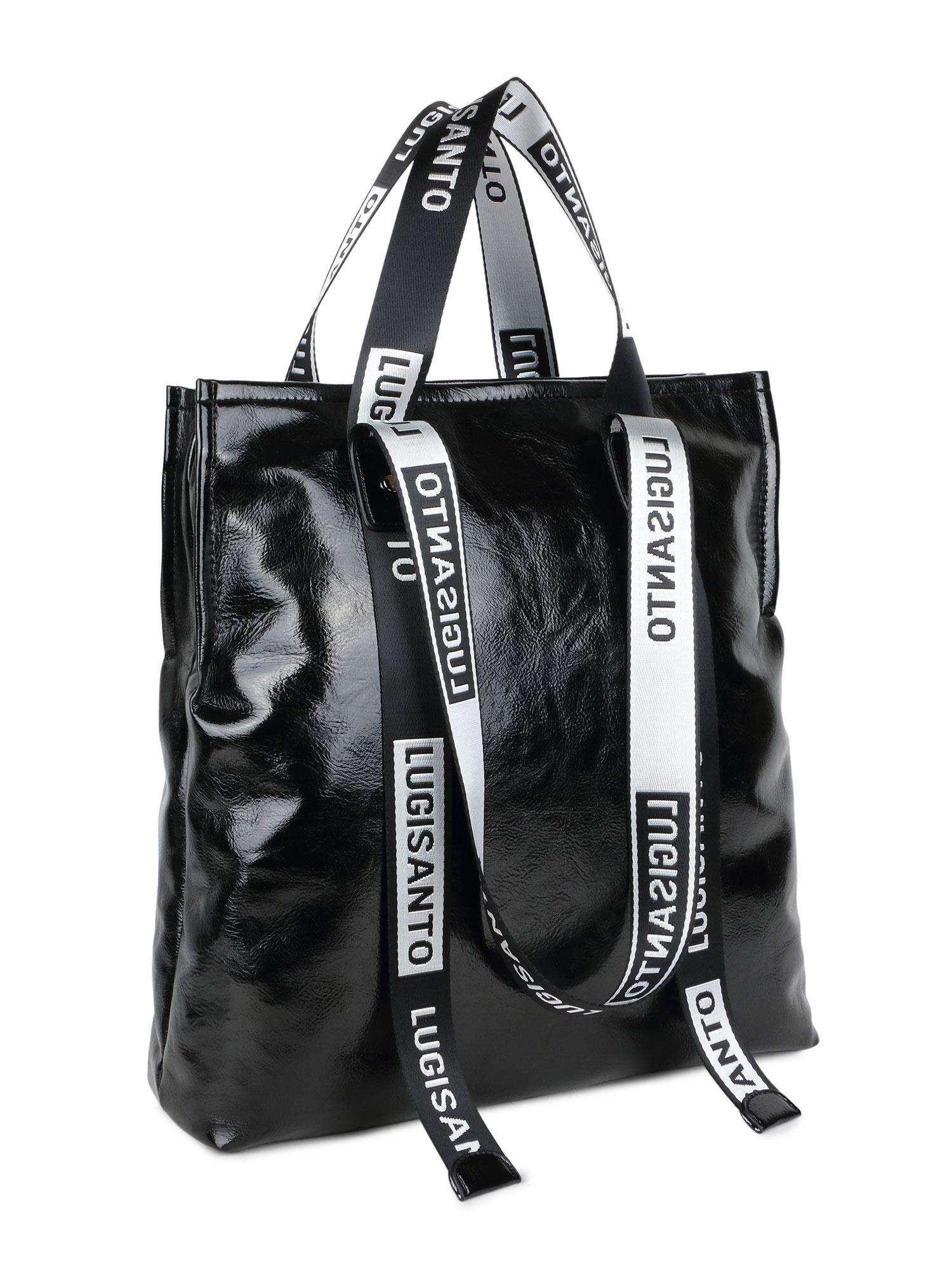 LUIGISANTO Veľká čierna taška vyrobená z ekokože one size